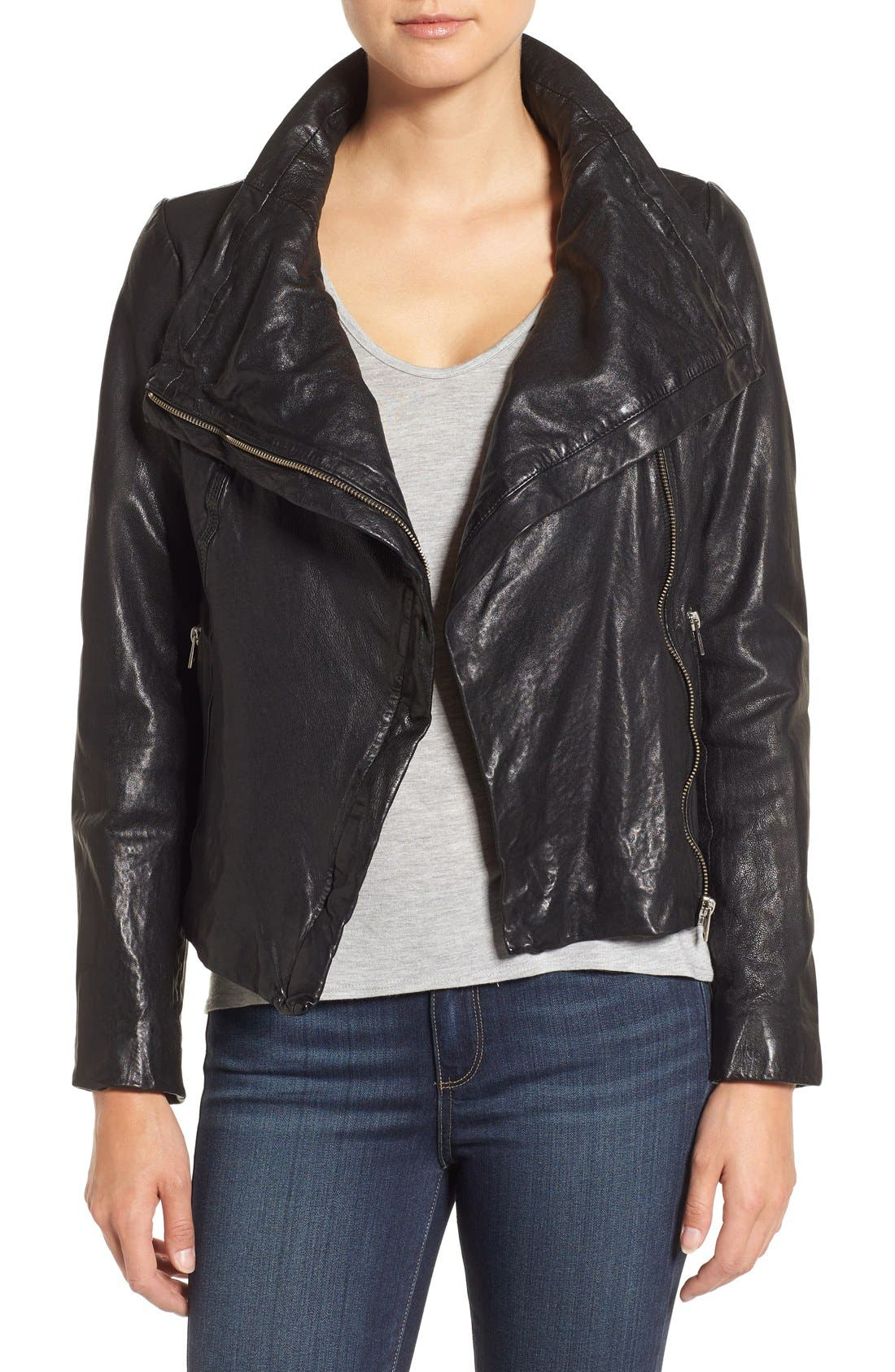 Funnel Neck Moto Jacket,                             Main thumbnail 1, color,                             BLACK