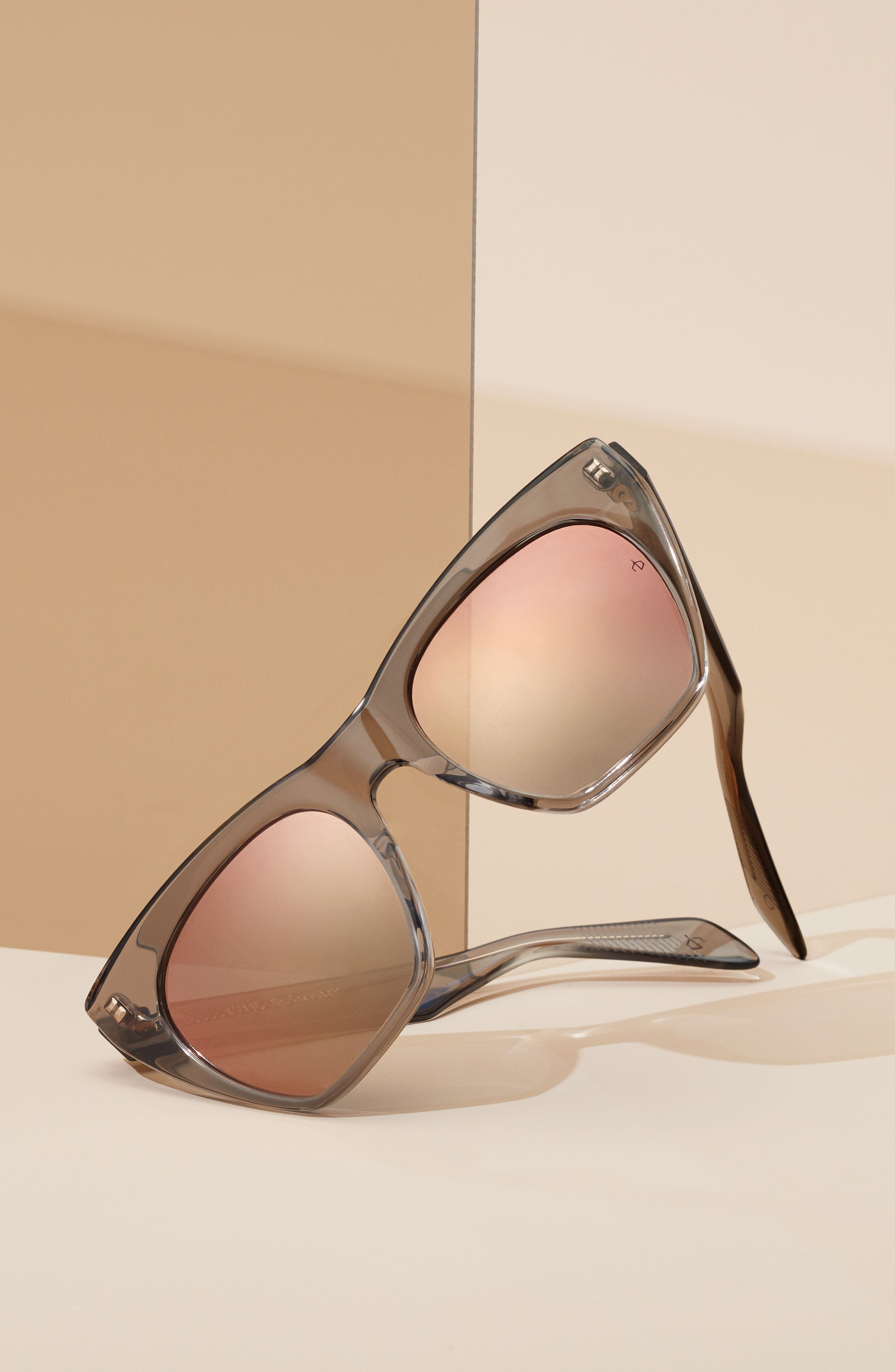 52mm Cat Eye Sunglasses,                             Alternate thumbnail 6, color,                             BLACK/ BLUE