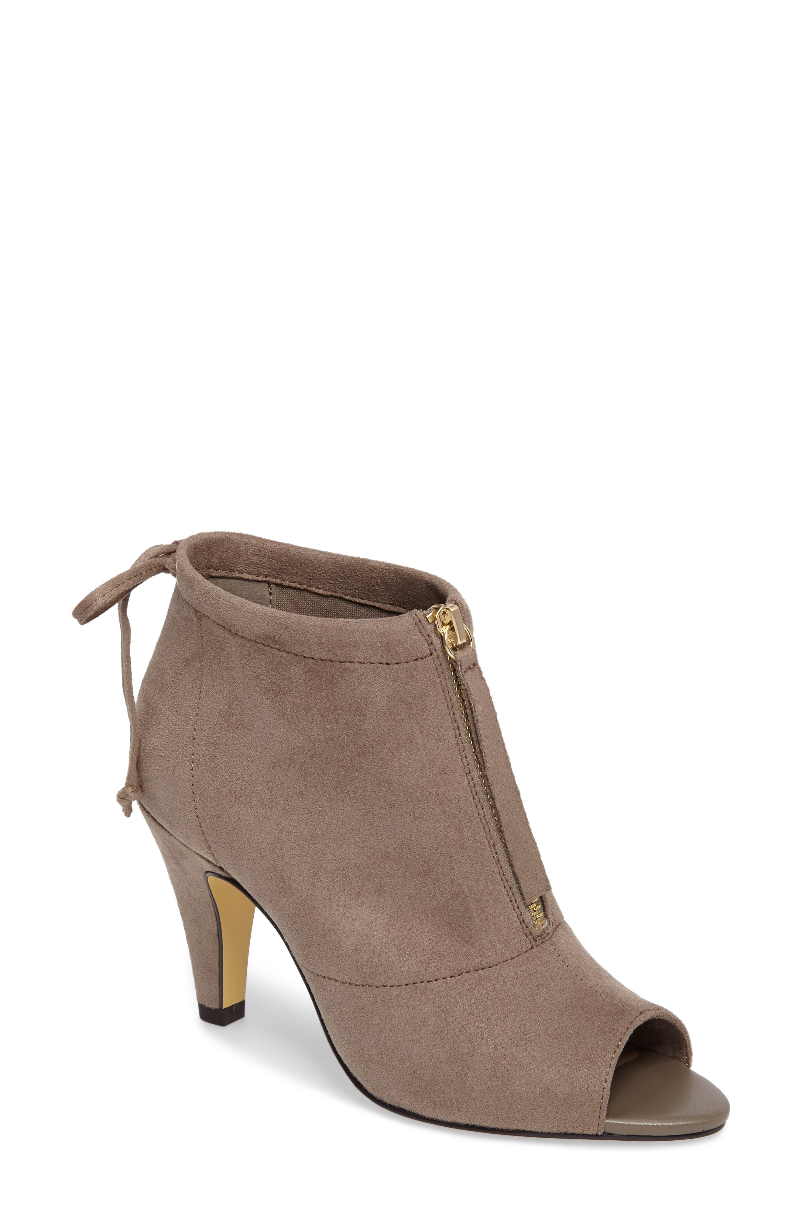 Nicky II Zip Front Bootie,                             Main thumbnail 1, color,                             STONE FAUX SUEDE