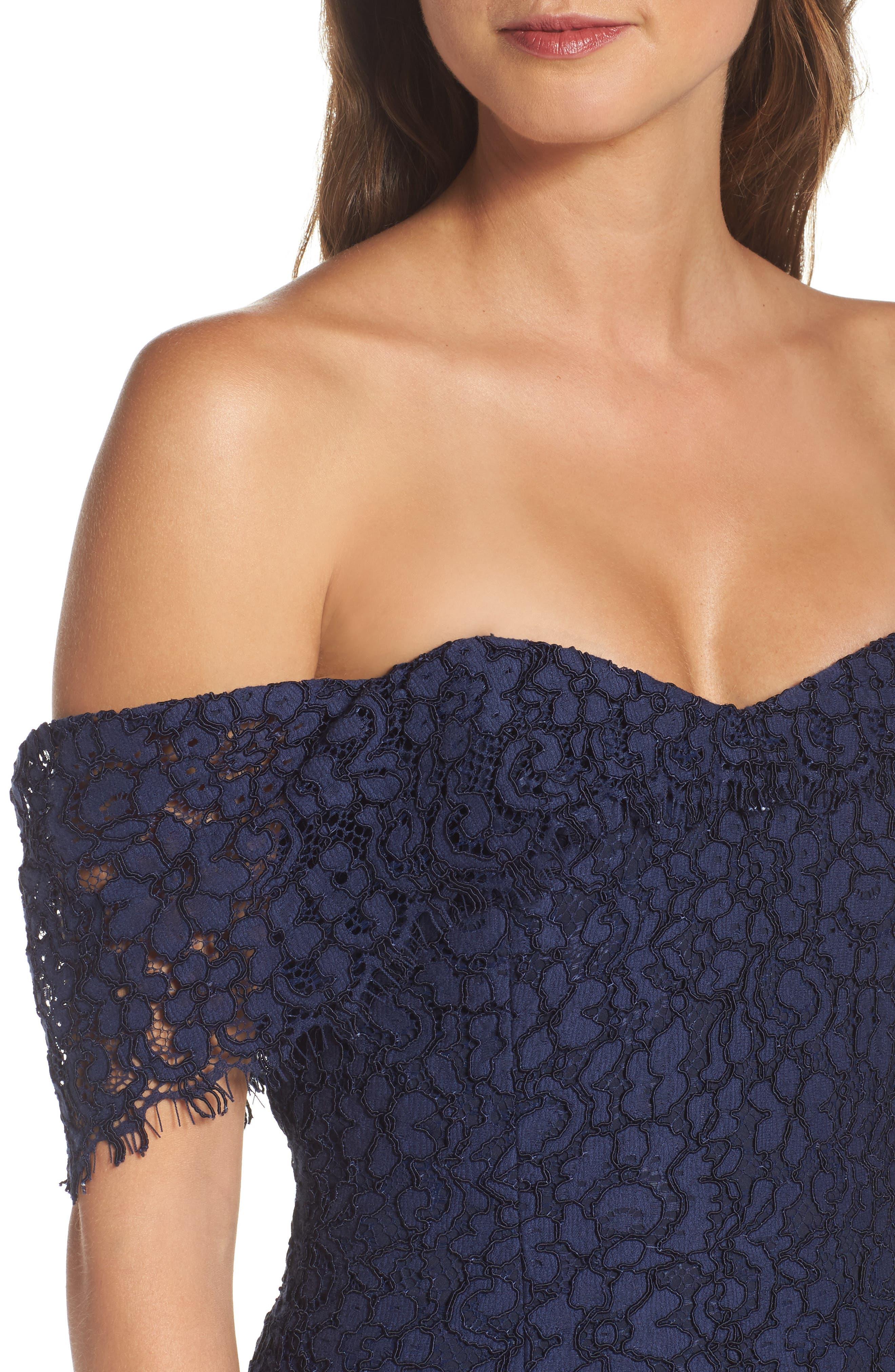 Vanowen Lace Off the Shoulder Gown,                             Alternate thumbnail 4, color,                             414