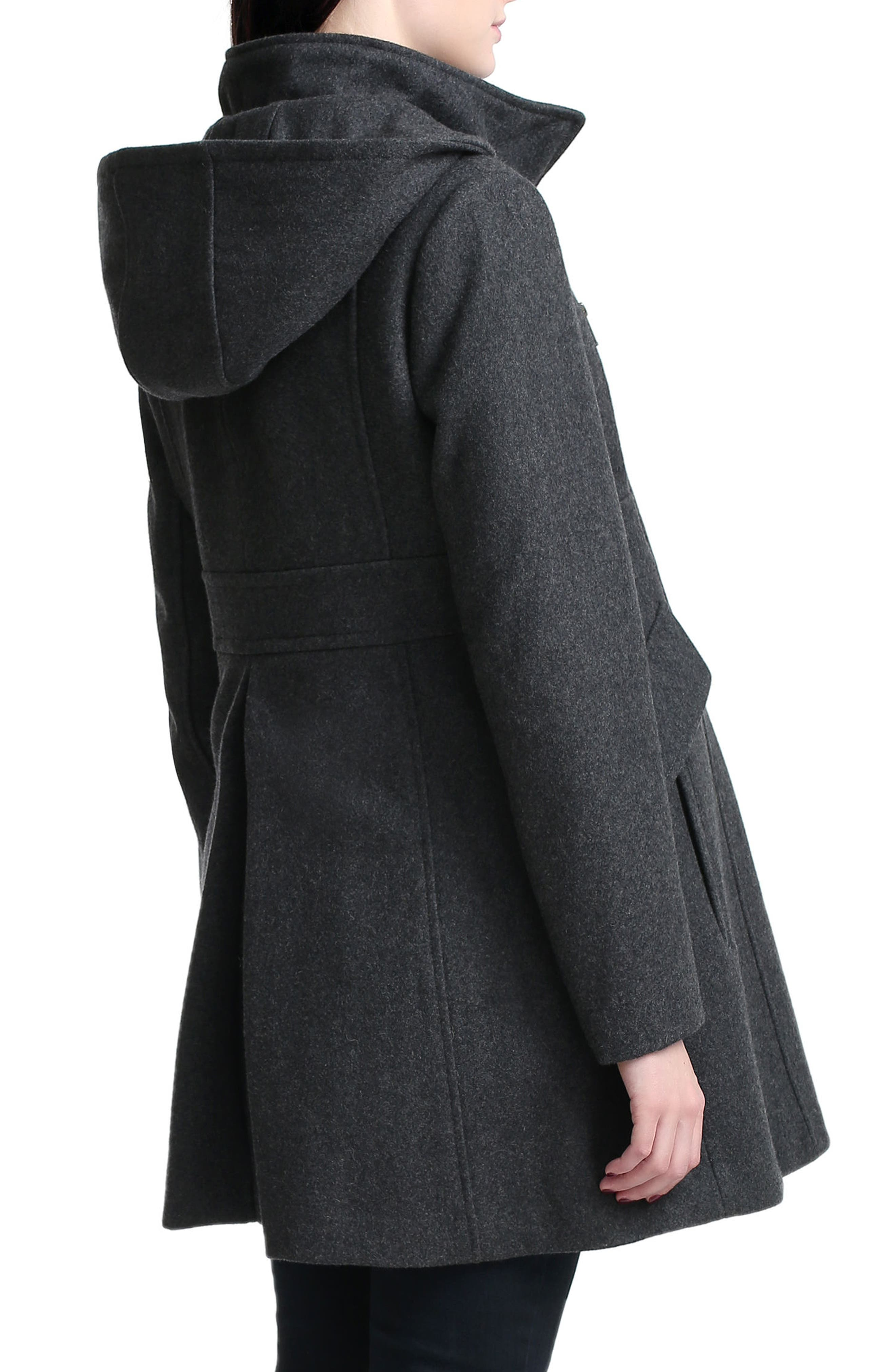 Cordella Wool Blend Hooded Maternity Coat,                             Alternate thumbnail 3, color,                             DARK HEATHER GRAY