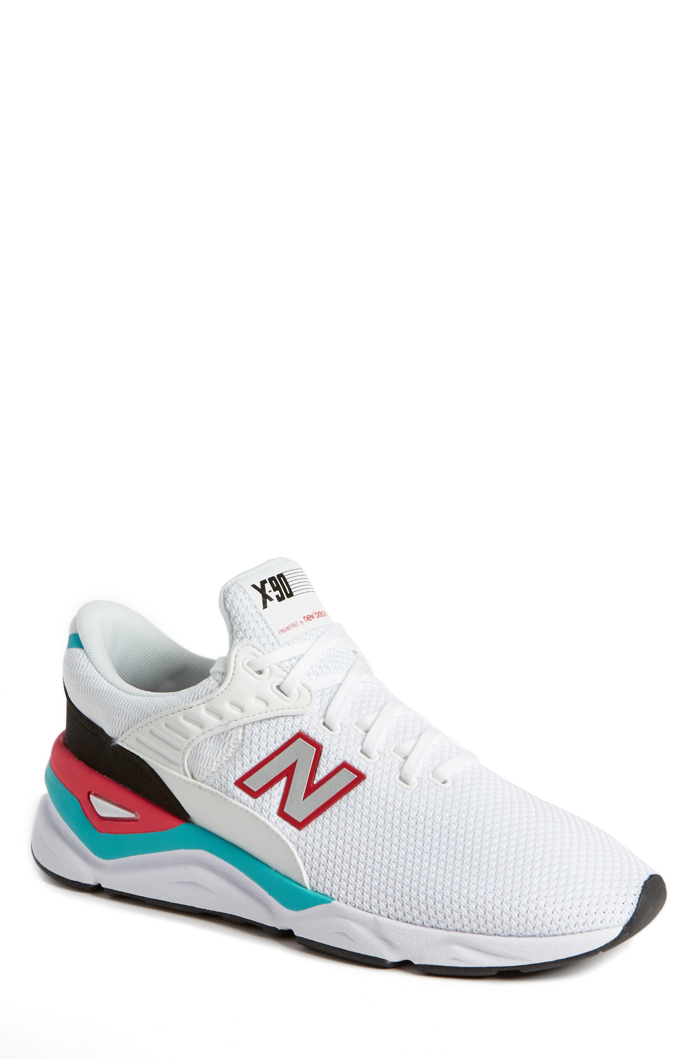 X-90 Knit Sneaker,                         Main,                         color, WHITE
