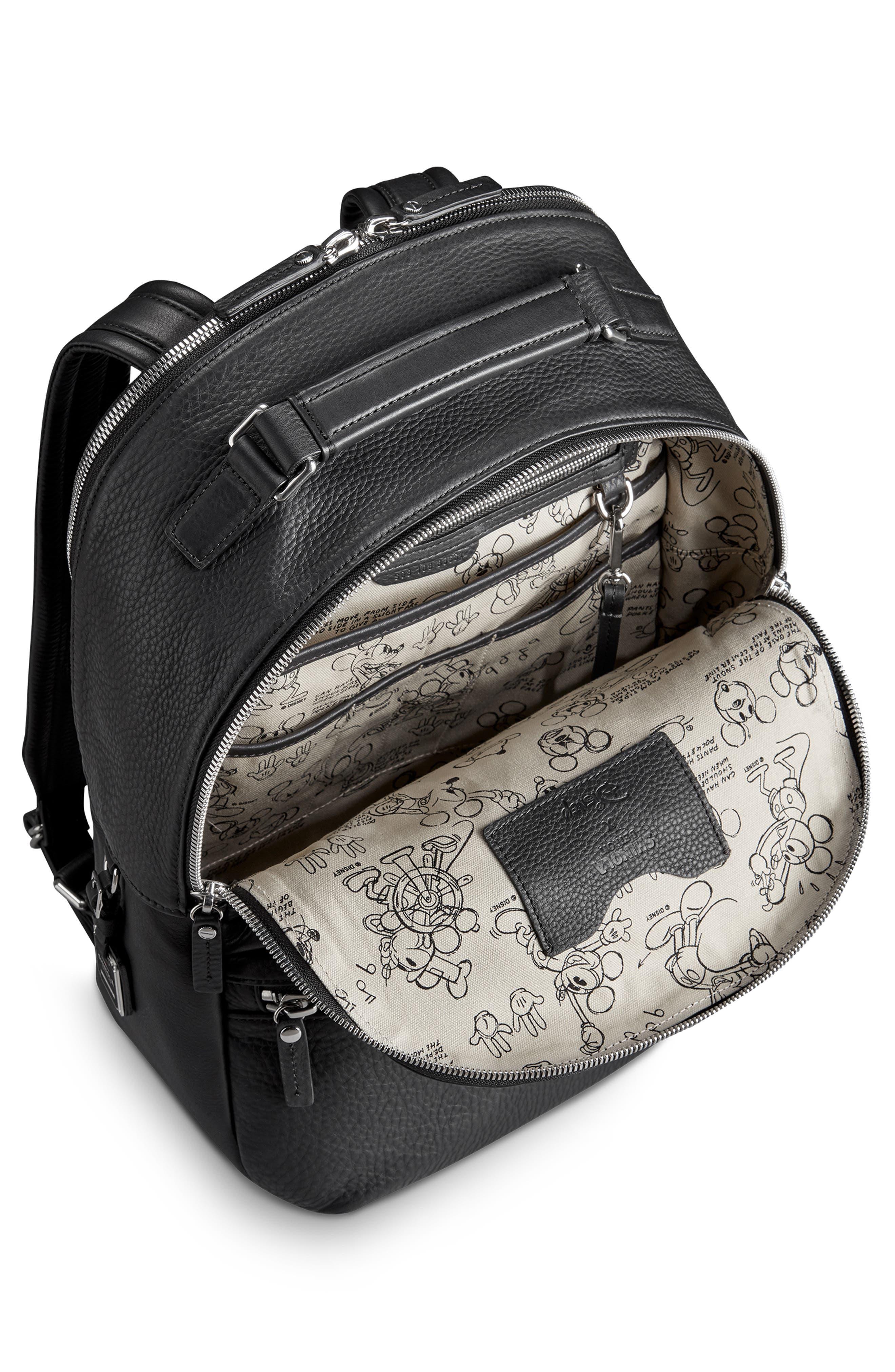 x Disney Runwell Leather Backpack,                             Alternate thumbnail 3, color,                             BLACK