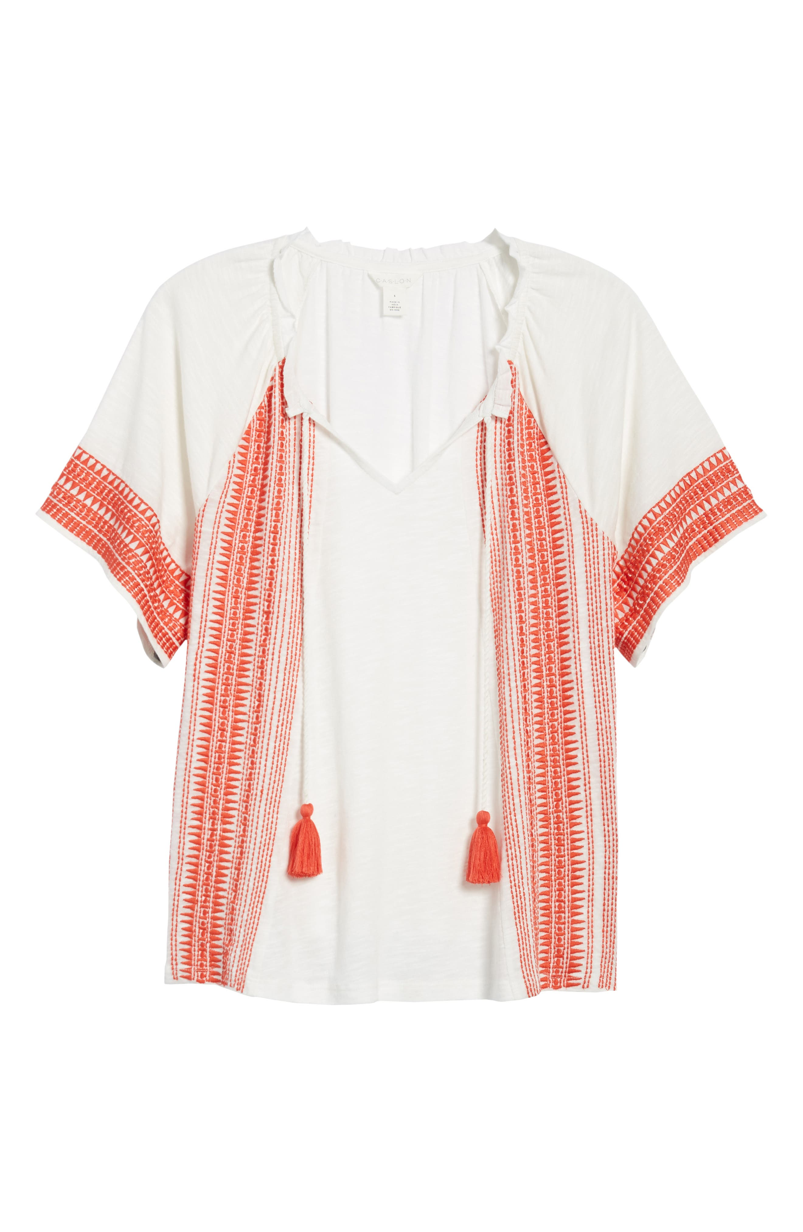 Embroidered Border Peasant Top,                             Alternate thumbnail 19, color,