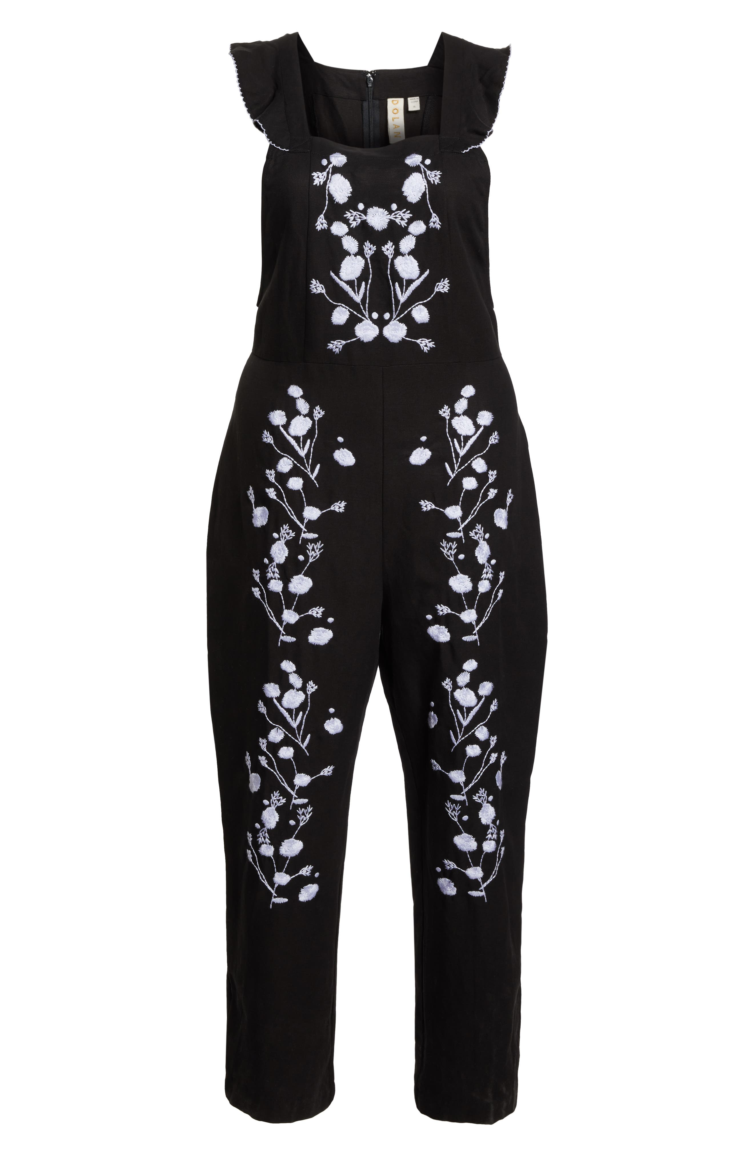 Flounced Embroidered Jumpsuit,                             Alternate thumbnail 13, color,                             BLACK