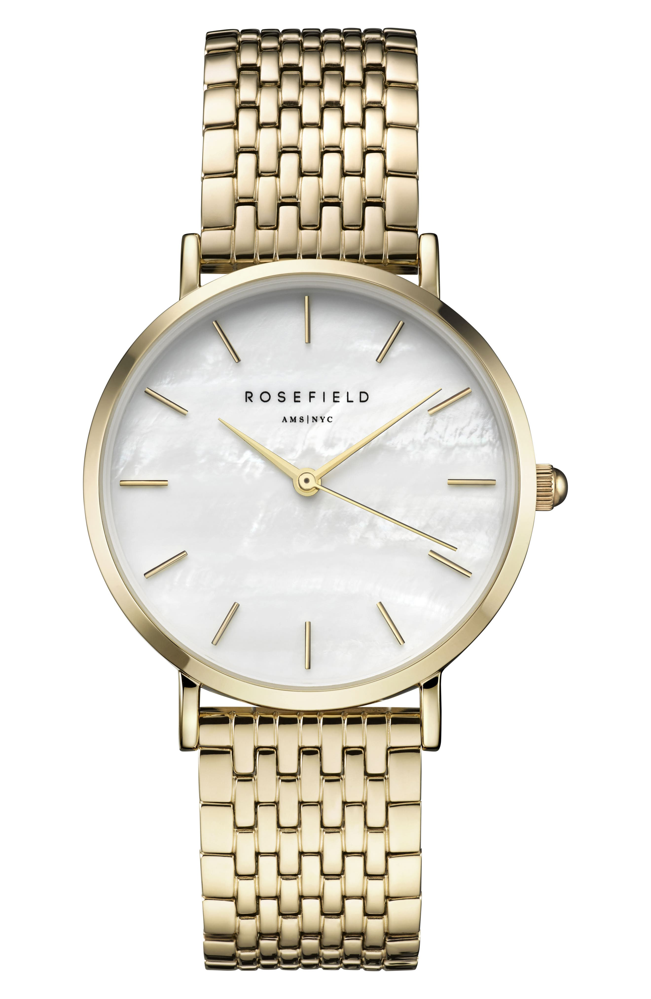 Upper East Side Bracelet Watch, 33mm,                             Main thumbnail 1, color,                             GOLD/ WHITE PEARL/ GOLD