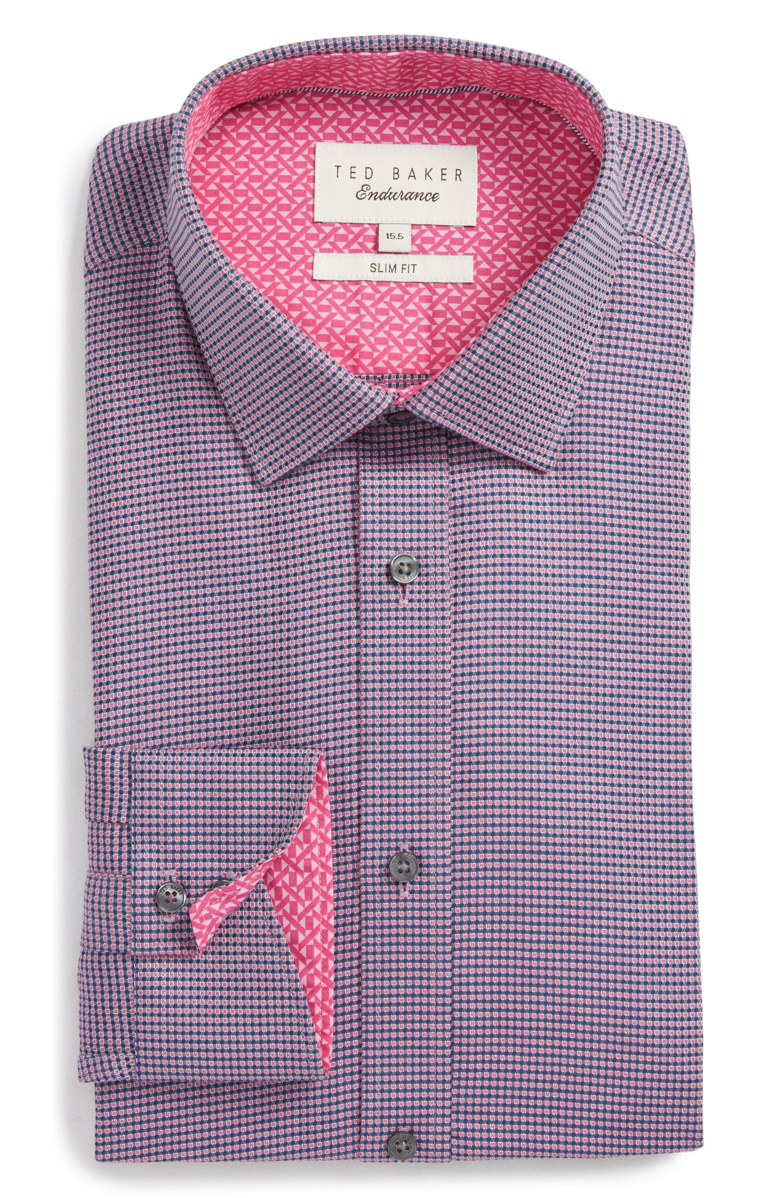 Endurance Slim Fit Box Twill Dress Shirt,                         Main,                         color, PINK