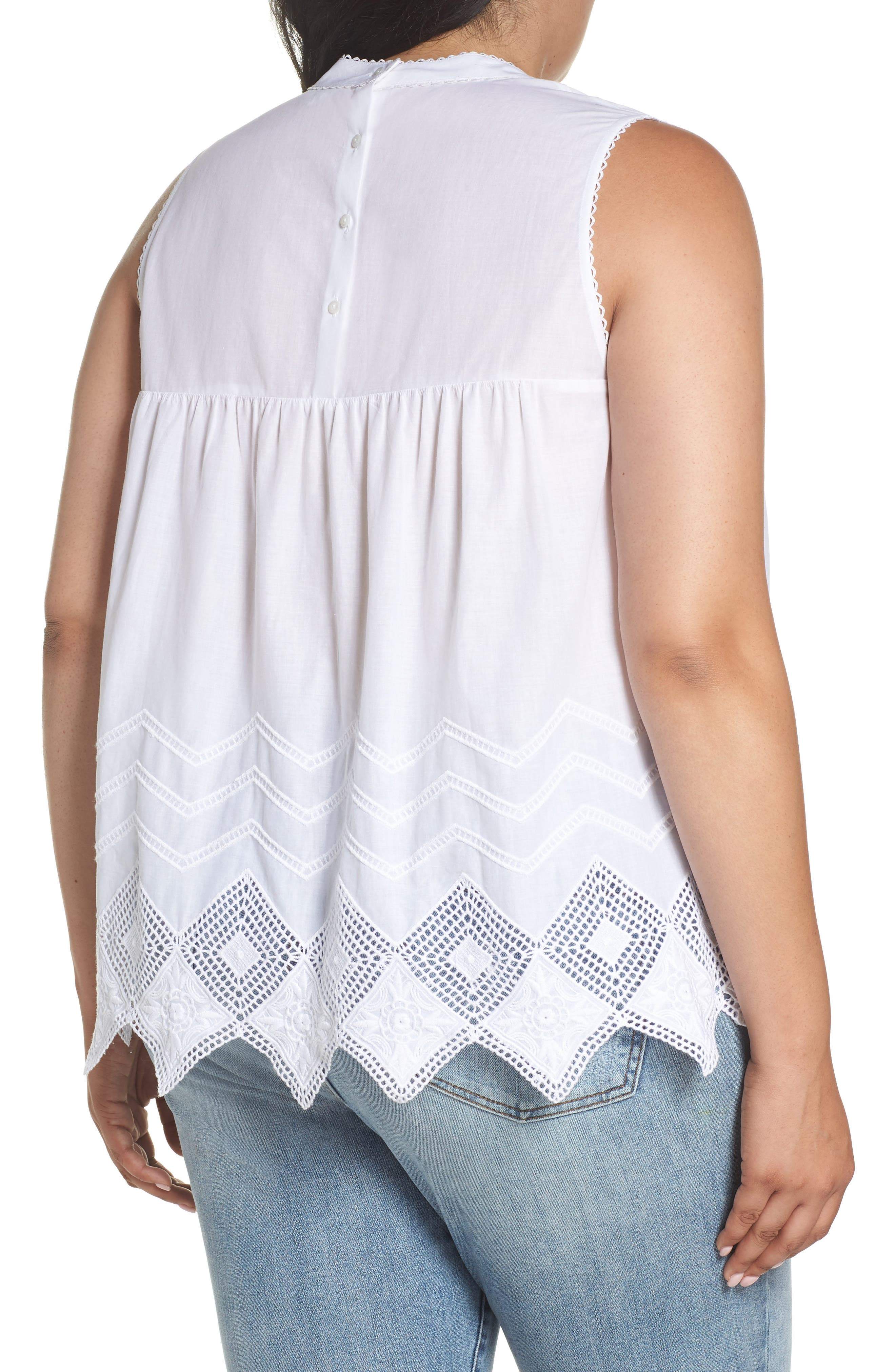 Embroidered Hem Top,                             Alternate thumbnail 2, color,                             100
