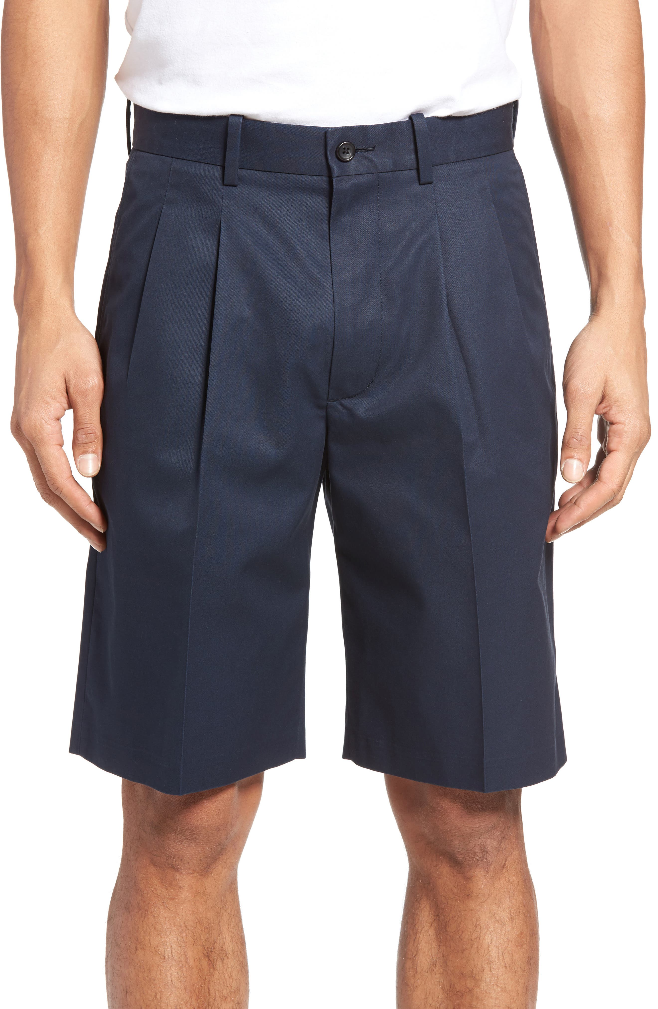 Pleated Supima<sup>®</sup> Cotton Shorts,                             Main thumbnail 5, color,