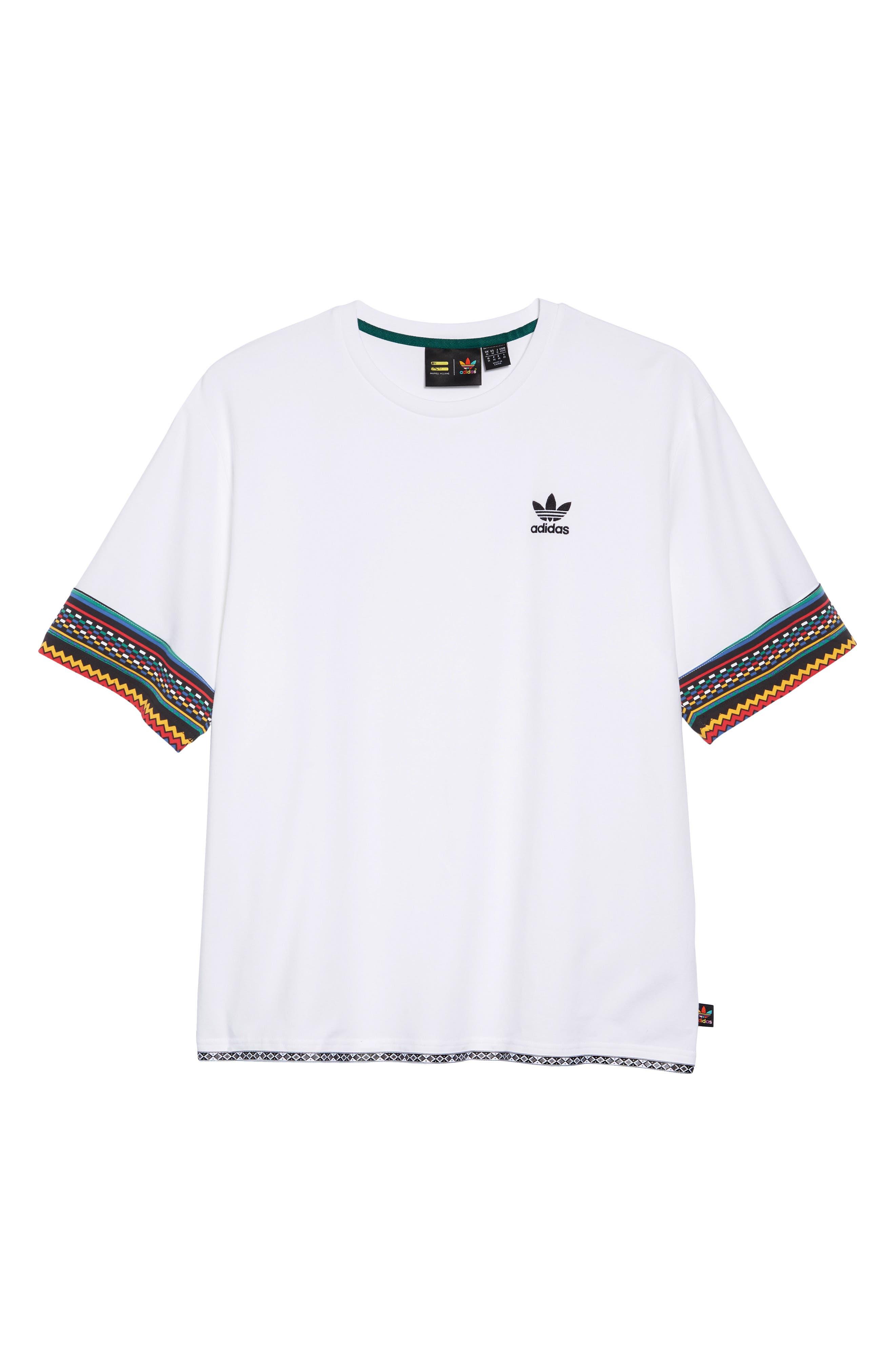 by Pharrell Williams Hu Solar Trefoil T-Shirt,                             Alternate thumbnail 6, color,                             100