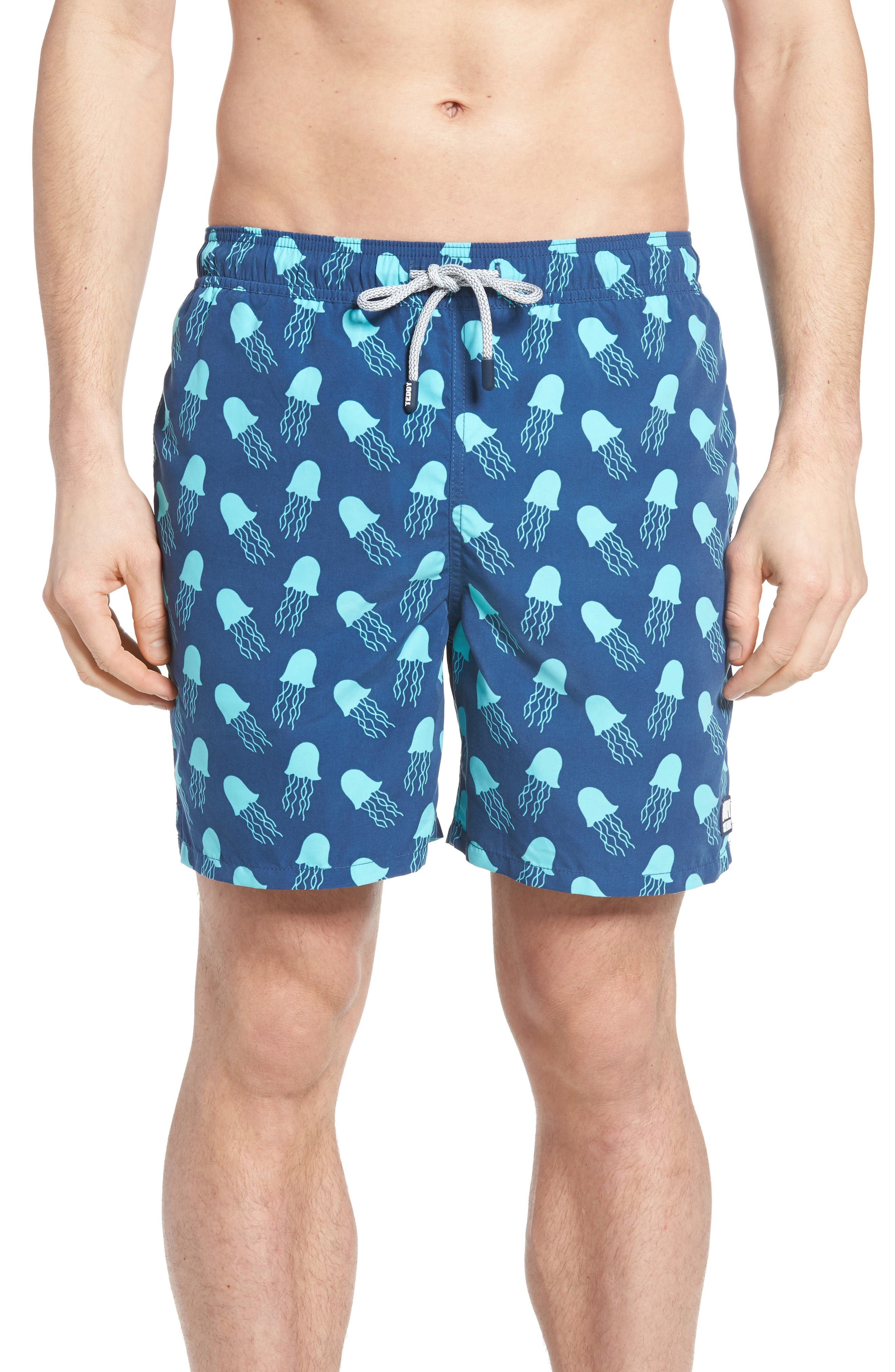 Jellyfish Print Swim Trunks,                             Main thumbnail 1, color,                             NAVY TURQUOISE