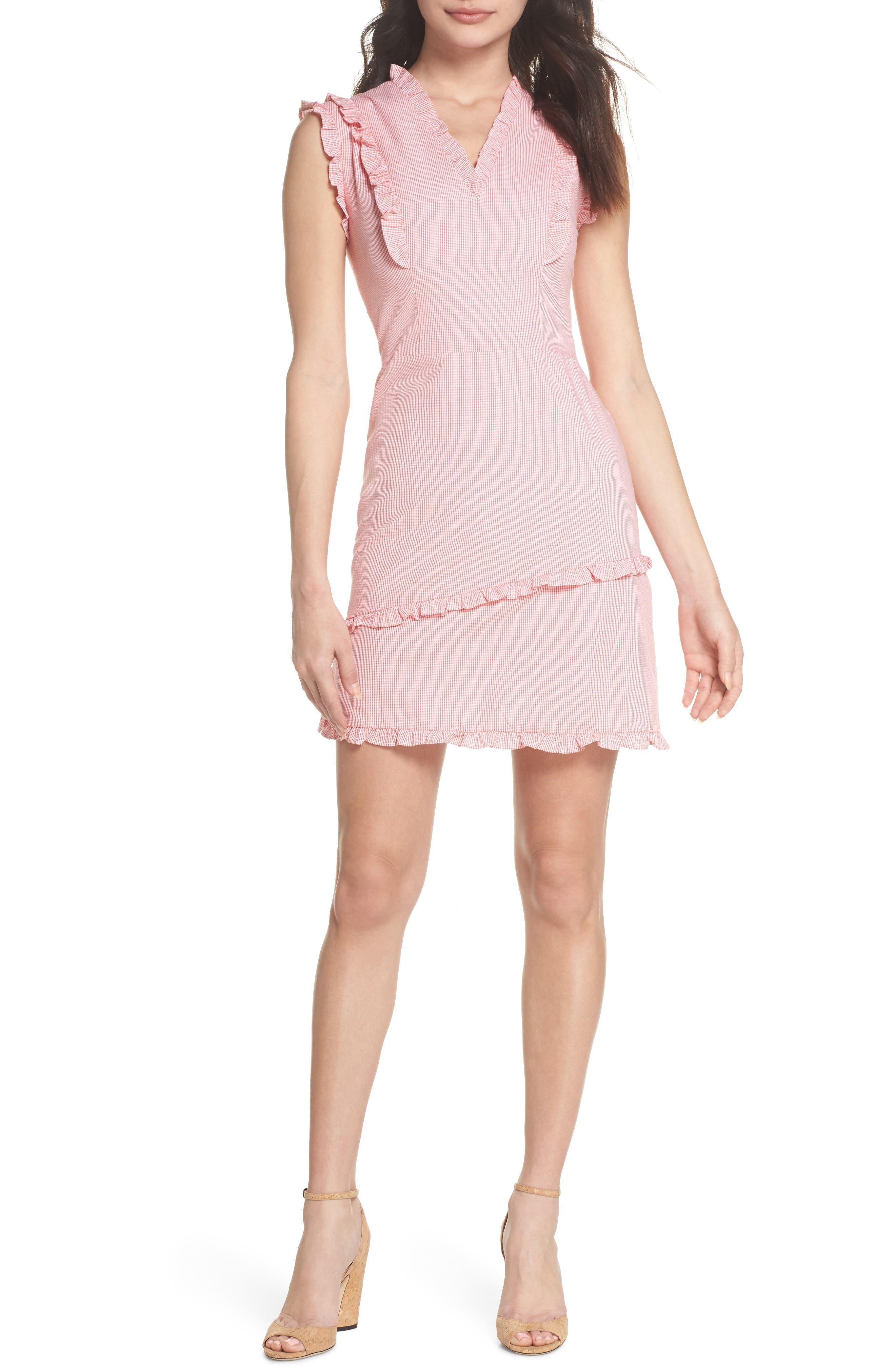 Ruffle V-Neck Sheath Dress,                             Main thumbnail 1, color,