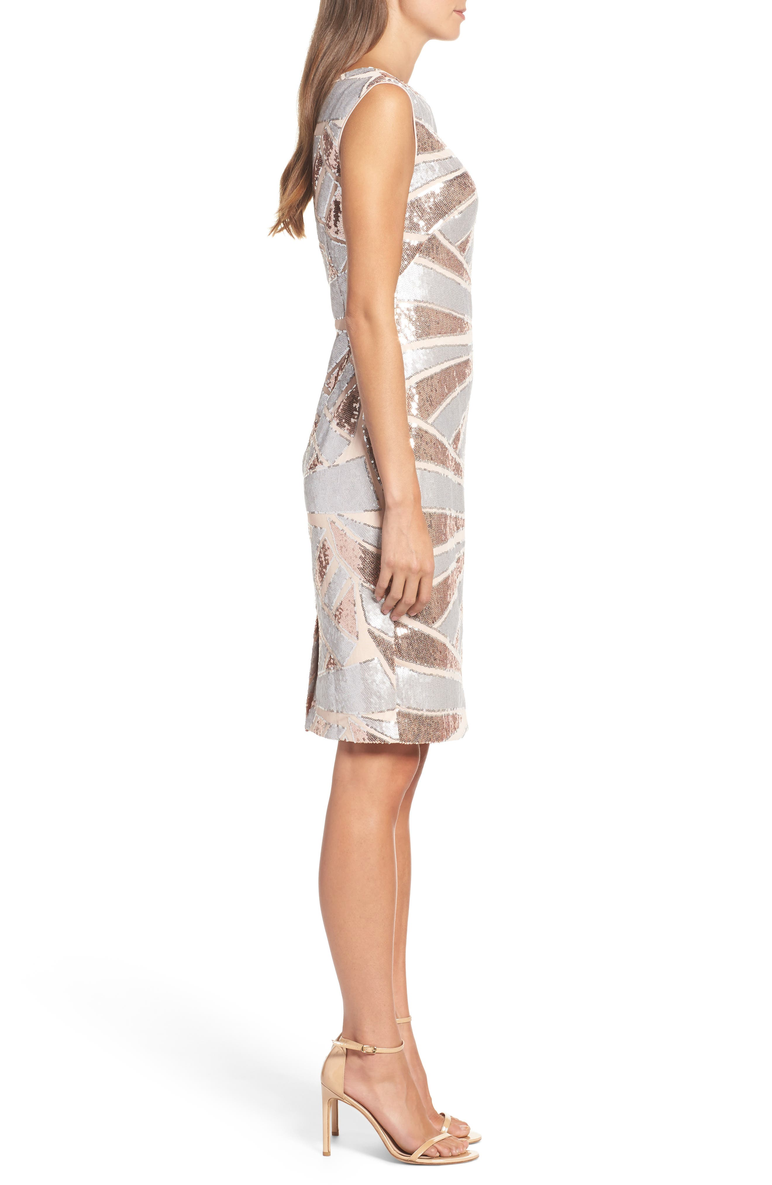 Sequin Body-Con Dress,                             Alternate thumbnail 3, color,