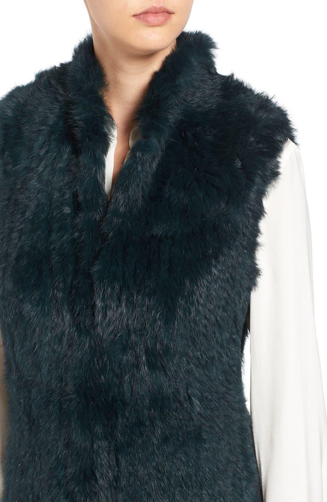 Genuine Rabbit Fur & Knit Vest,                             Alternate thumbnail 18, color,
