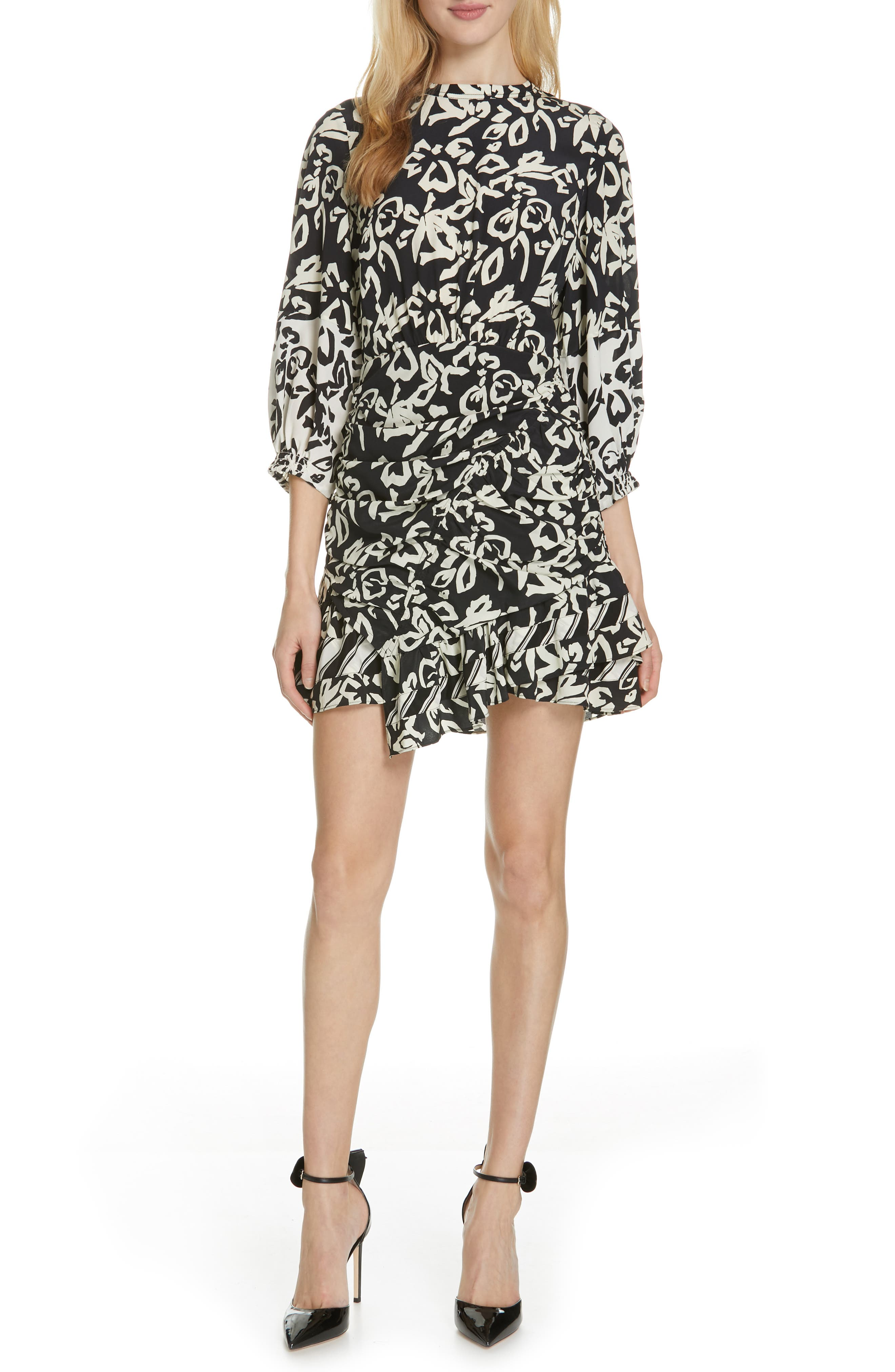 TANYA TAYLOR Mel Printed Ruched Silk Flounce Short Dress in Black