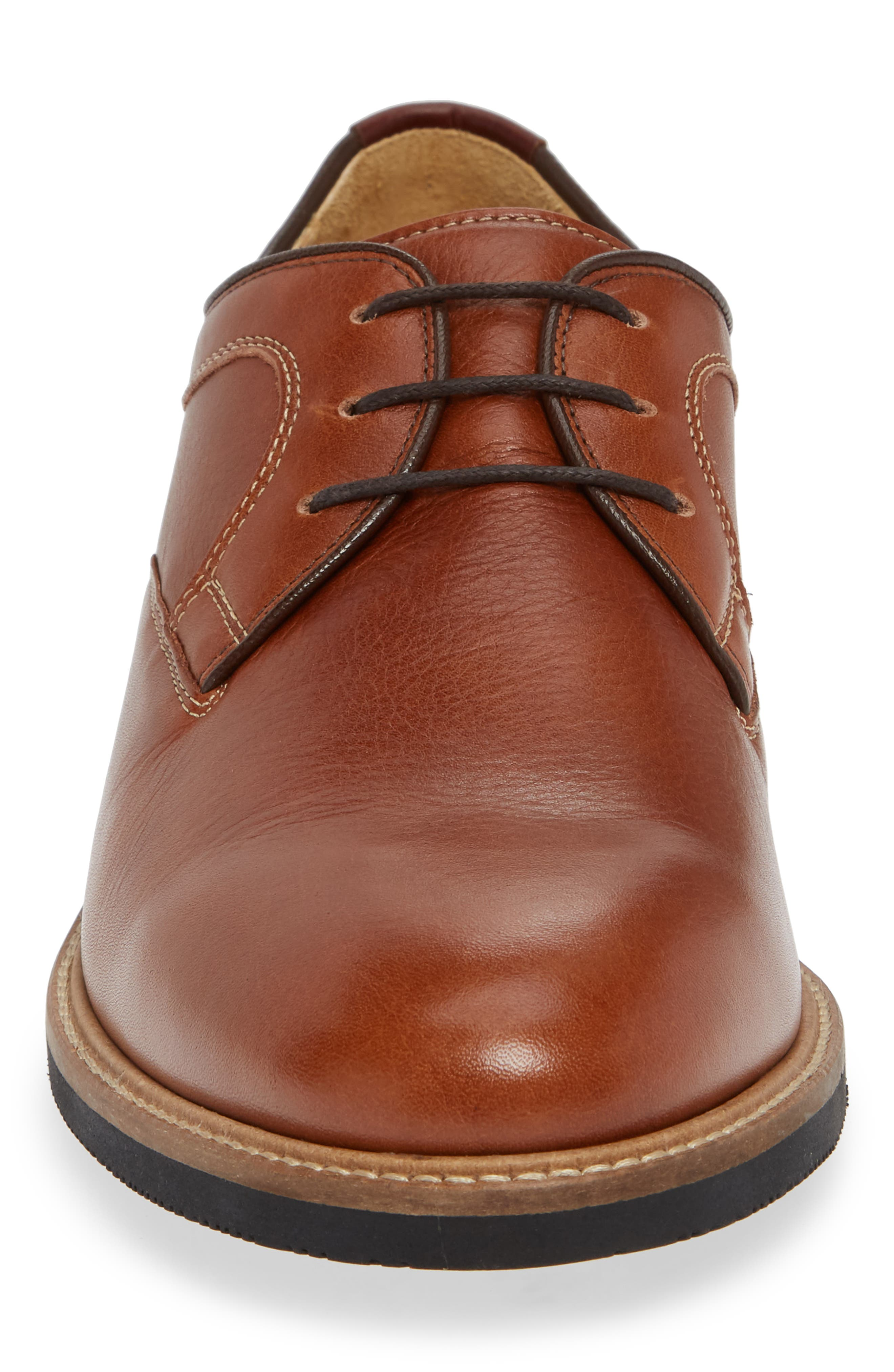 Barlow Plain Toe Derby,                             Alternate thumbnail 4, color,                             DARK TAN LEATHER