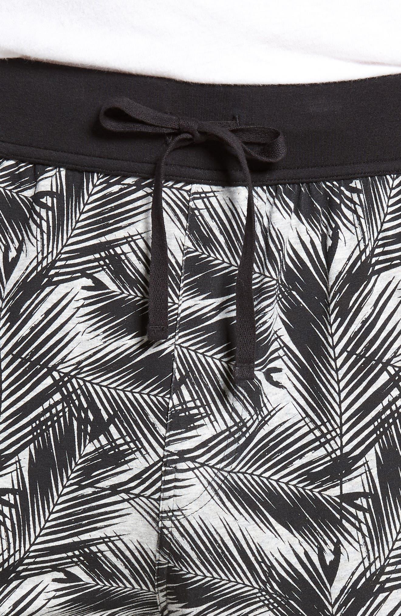 Print Stretch Cotton Jogger Pants,                             Alternate thumbnail 4, color,                             BLACK- GREY PALM FRONDS