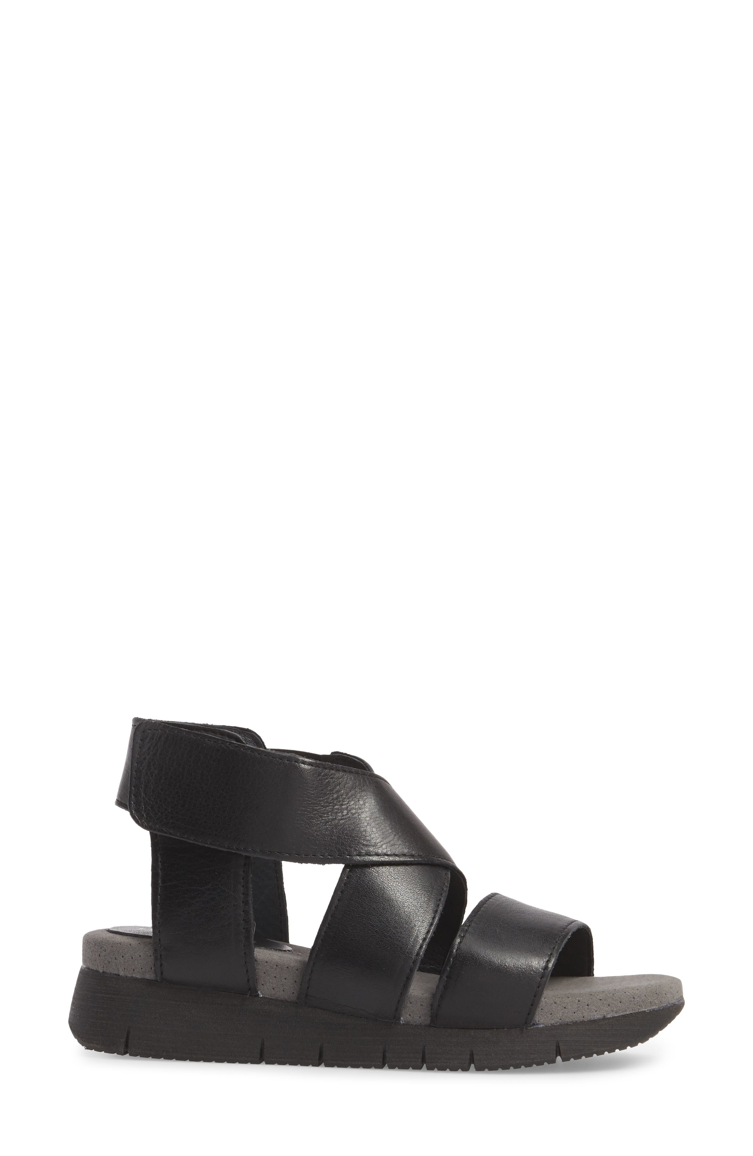 Piper Wedge Sandal,                             Alternate thumbnail 3, color,                             BLACK SAUVAGE LEATHER