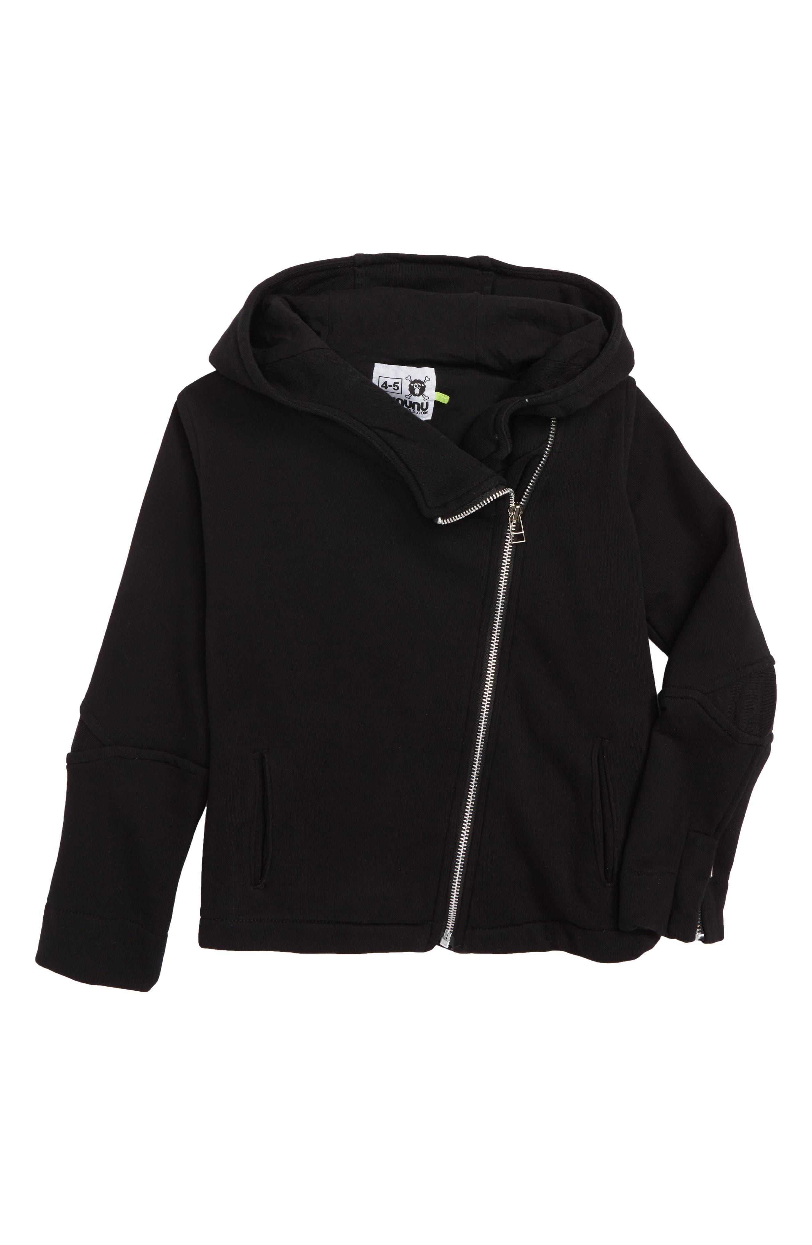 Diagonal Zip Hoodie,                         Main,                         color, BLACK