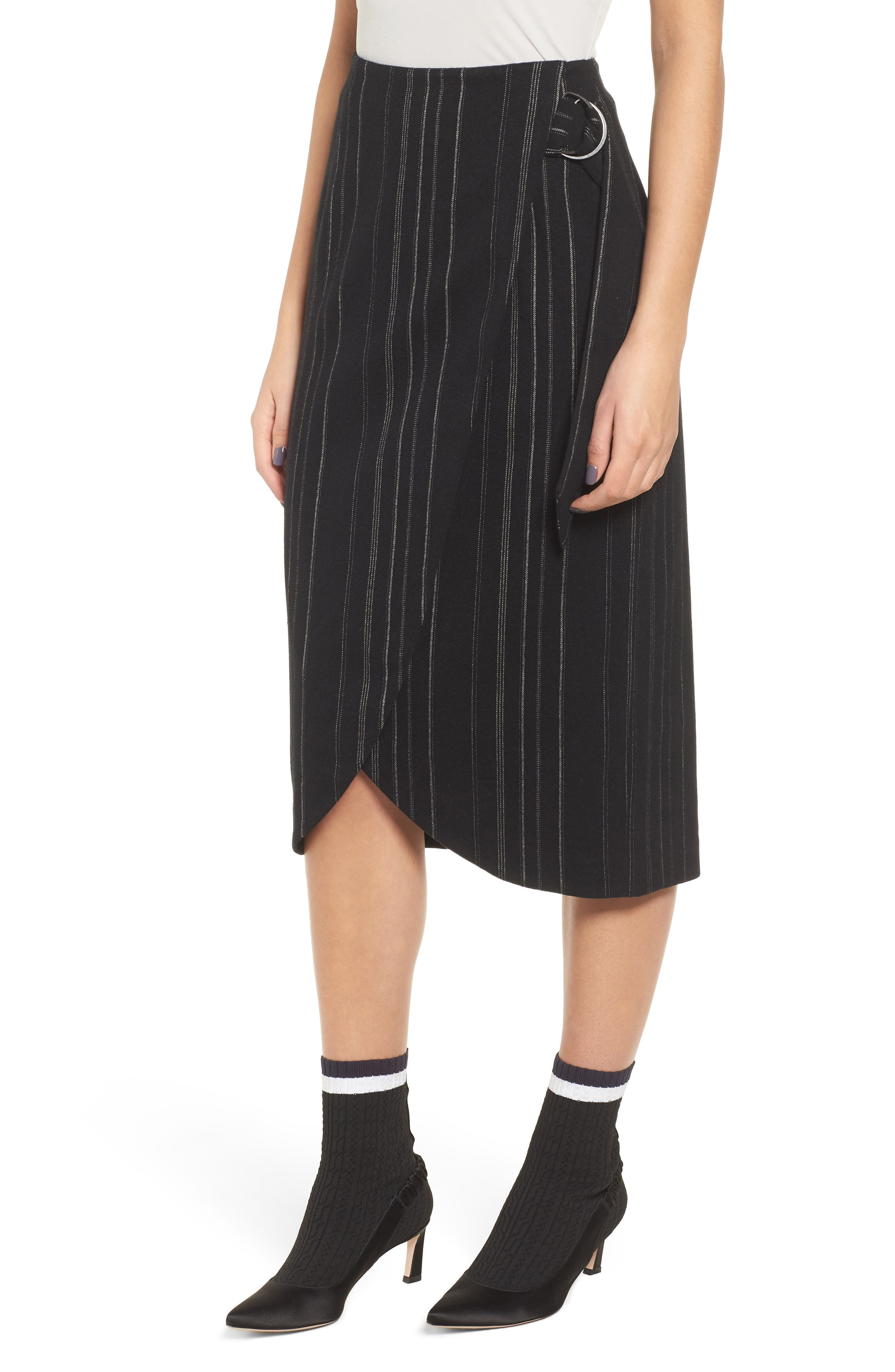 Side Tie Midi Skirt,                         Main,                         color, BLACK MIXED STRIPE