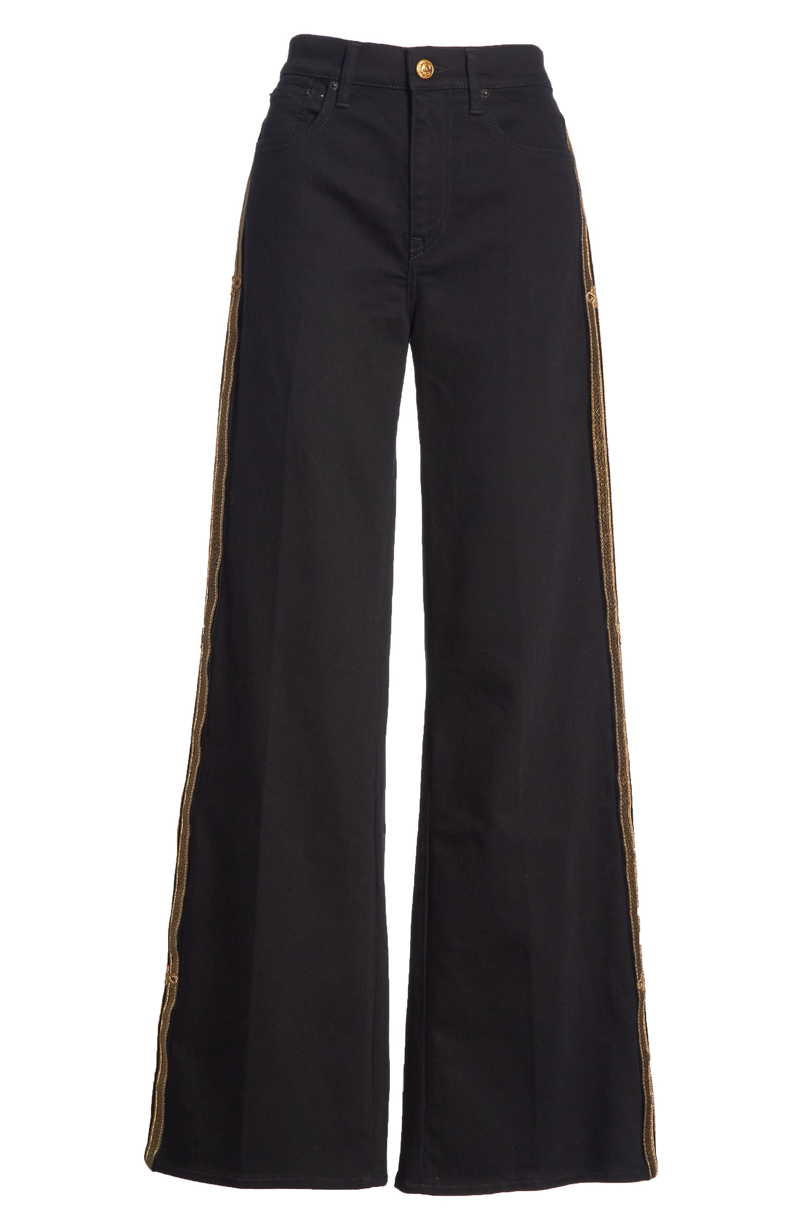 Wide Leg Denim Pants,                             Alternate thumbnail 6, color,                             BLACK
