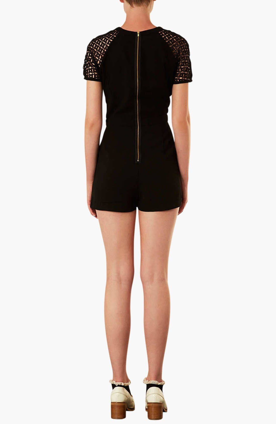 'Cutwork' Romper,                             Alternate thumbnail 2, color,                             001