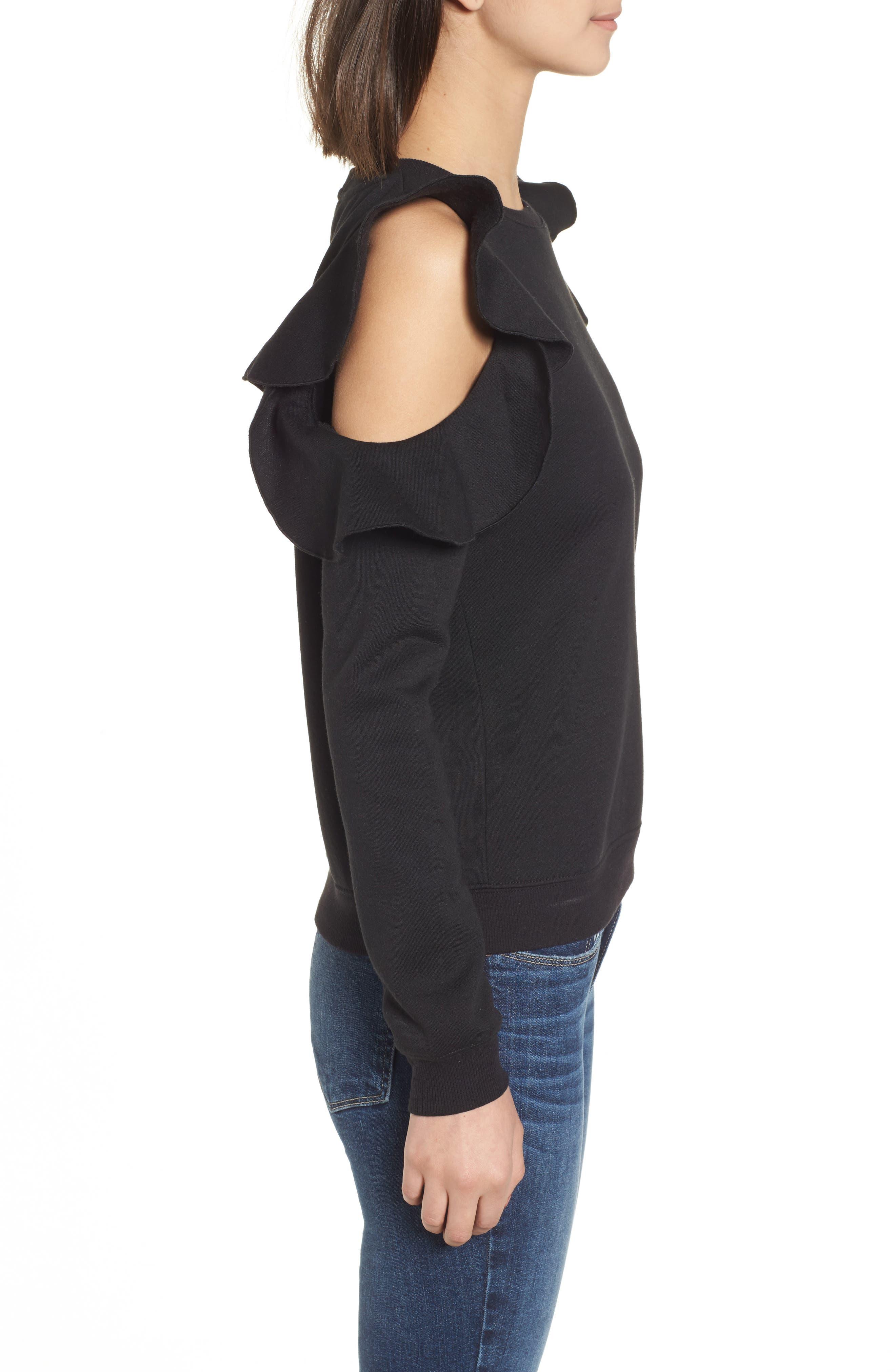 Gracie Cold Shoulder Sweatshirt,                             Alternate thumbnail 3, color,                             001