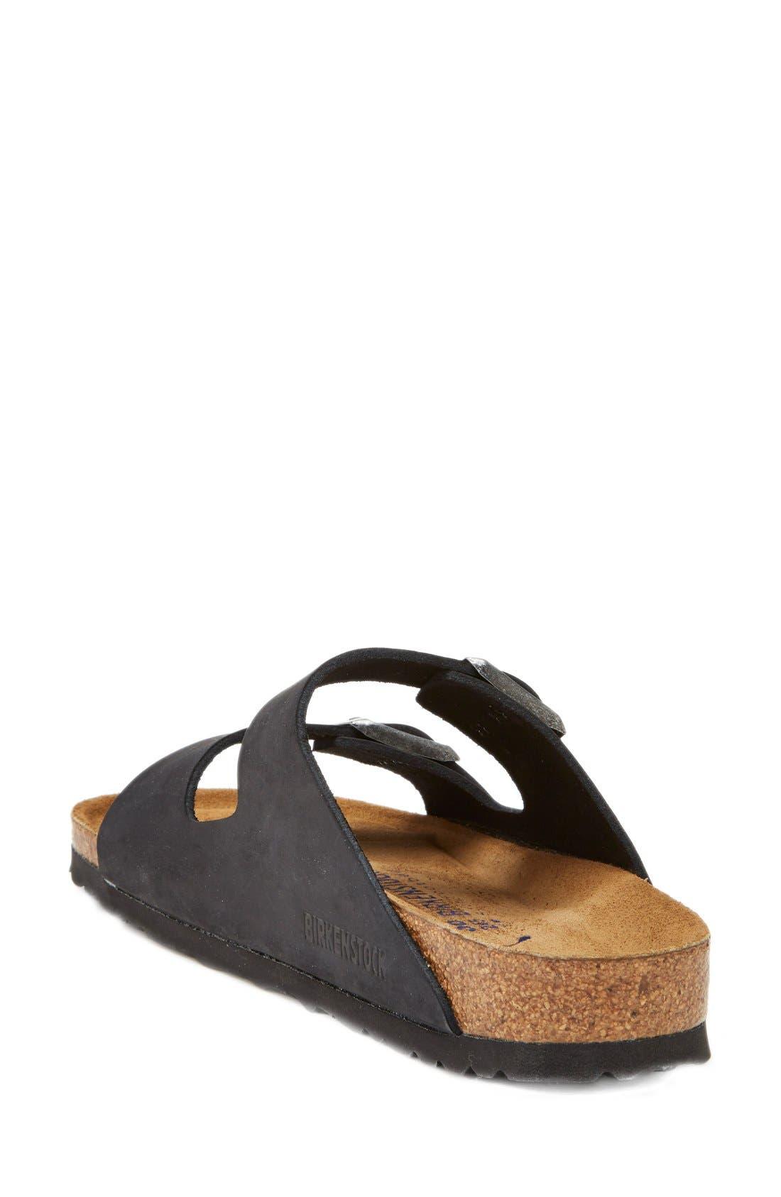 'Arizona' Soft Footbed Sandal,                             Alternate thumbnail 7, color,                             BLACK/ BLACK