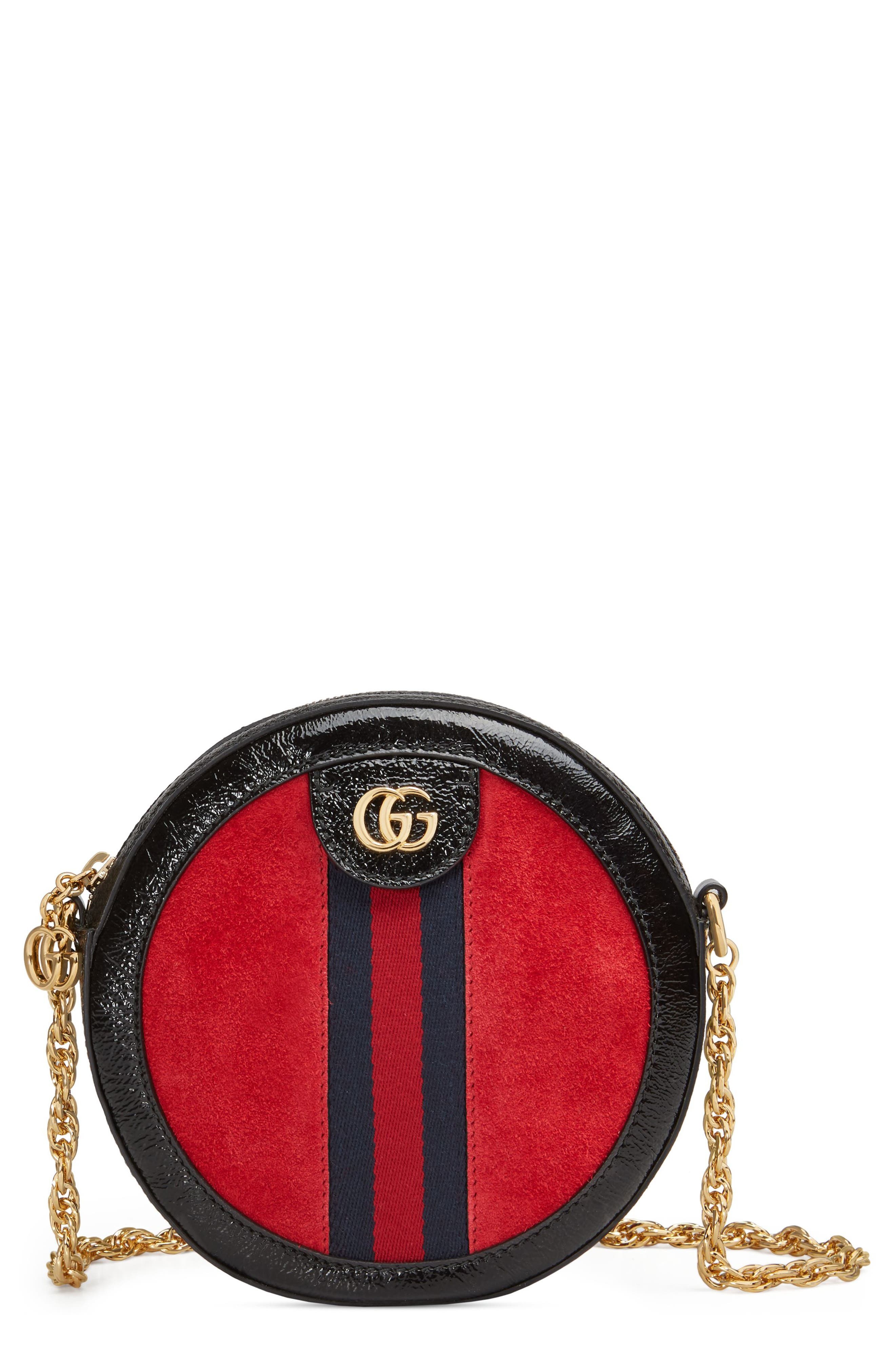 GUCCI,                             Mini Ophidia Round Shoulder Bag,                             Main thumbnail 1, color,                             HIBISCUS RED/ NERO/ BLUE