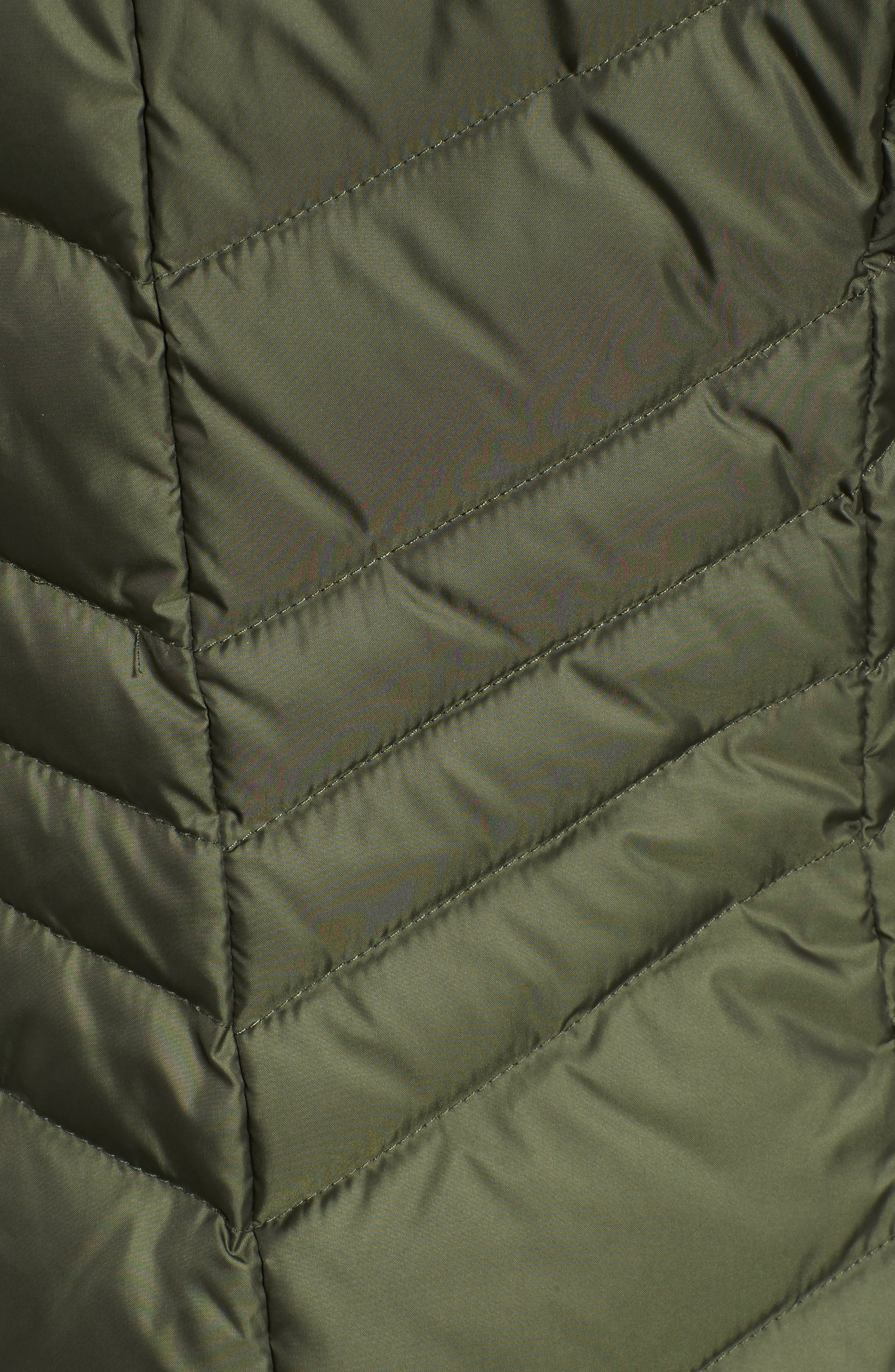 Chevron Quilted Coat with Genuine Coyote Fur Trim,                             Alternate thumbnail 17, color,