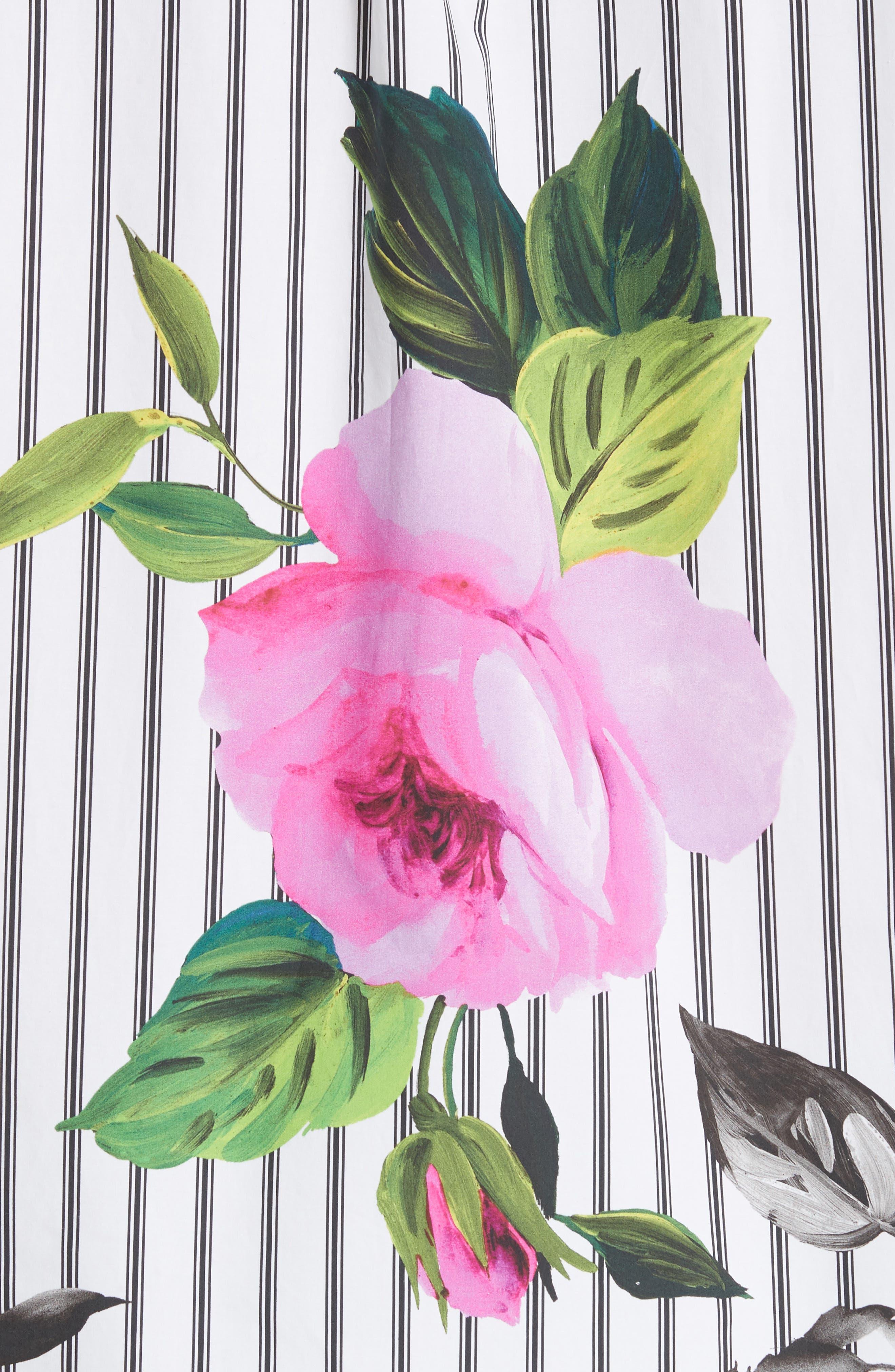 Basic Flower Stripe Shirt,                             Alternate thumbnail 5, color,                             020