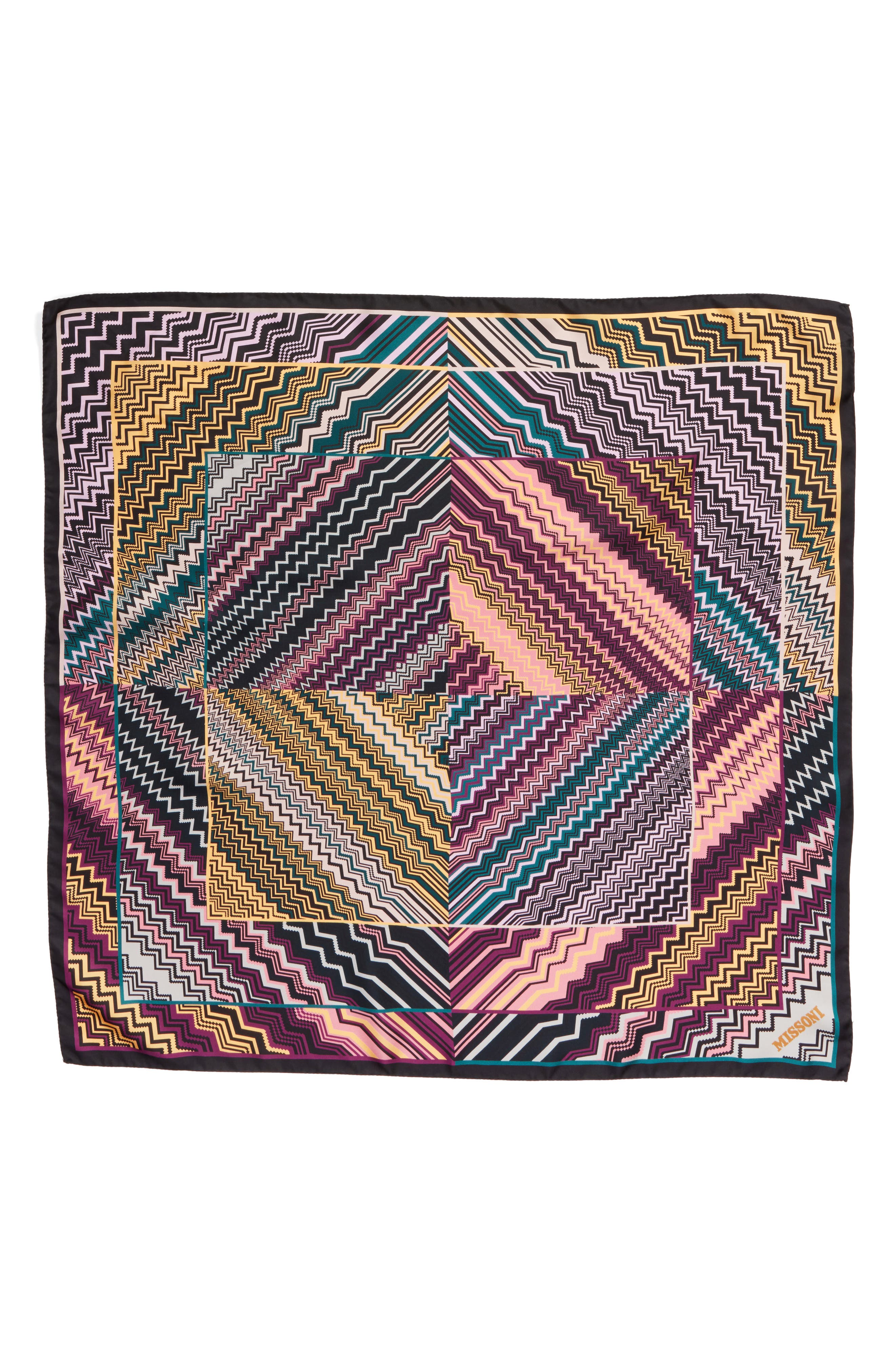 MISSONI Zigzag Square Silk Scarf, Main, color, 500