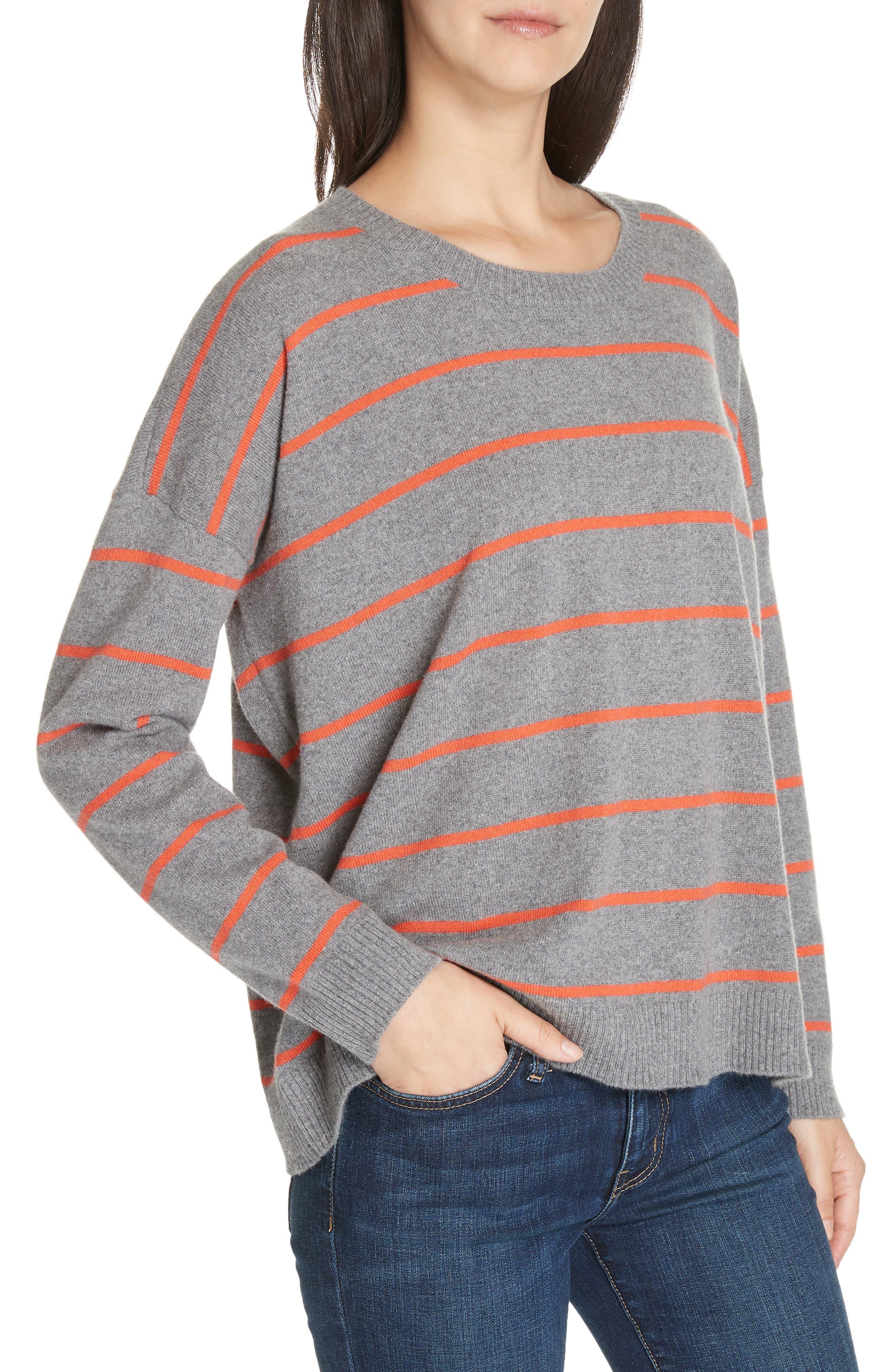 Stripe Boxy Cashmere & Wool Sweater,                             Alternate thumbnail 4, color,                             ASH