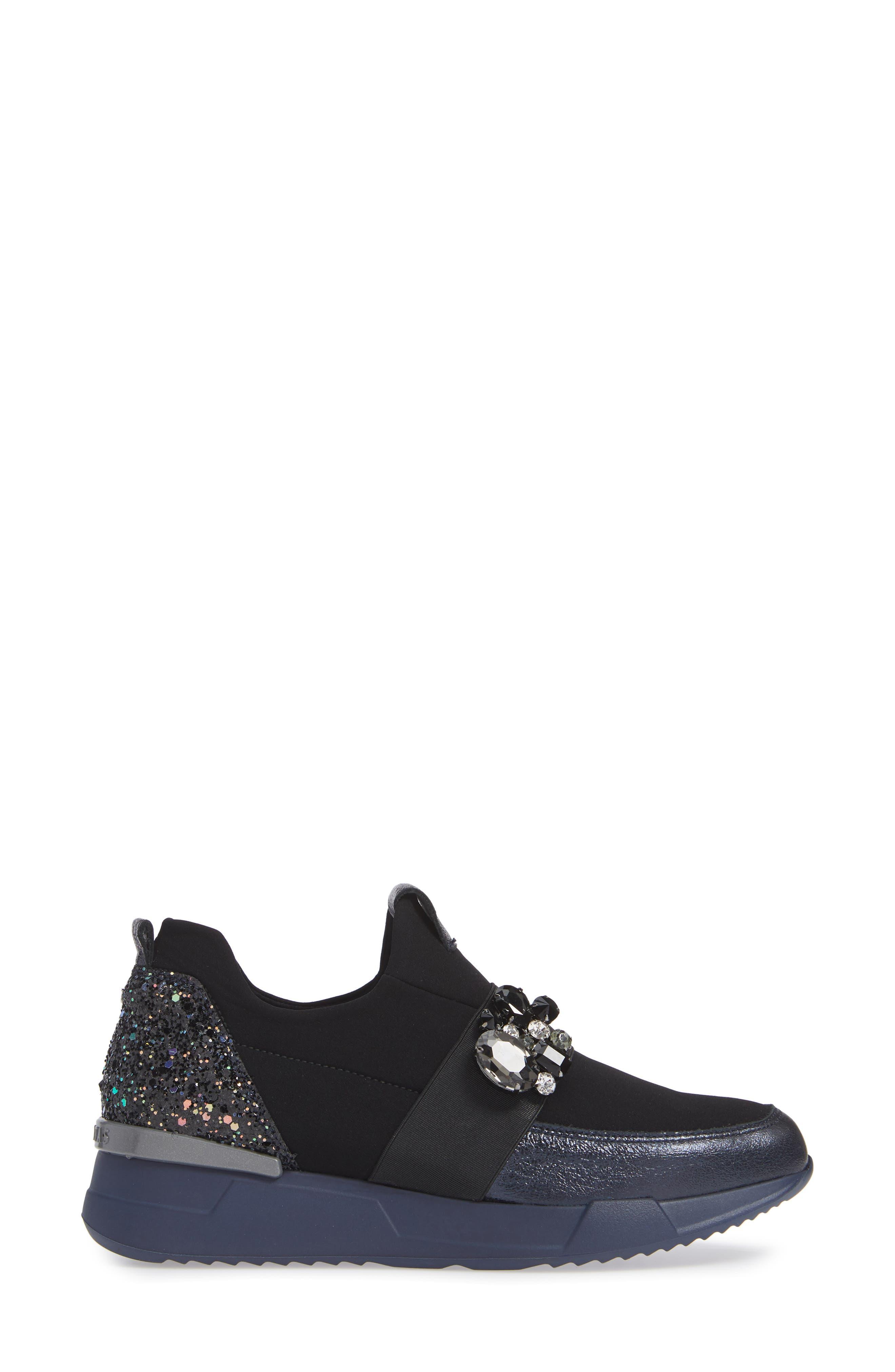 Callen Embellished Sock Sneaker,                             Alternate thumbnail 3, color,                             SHADOW MARINE LEATHER