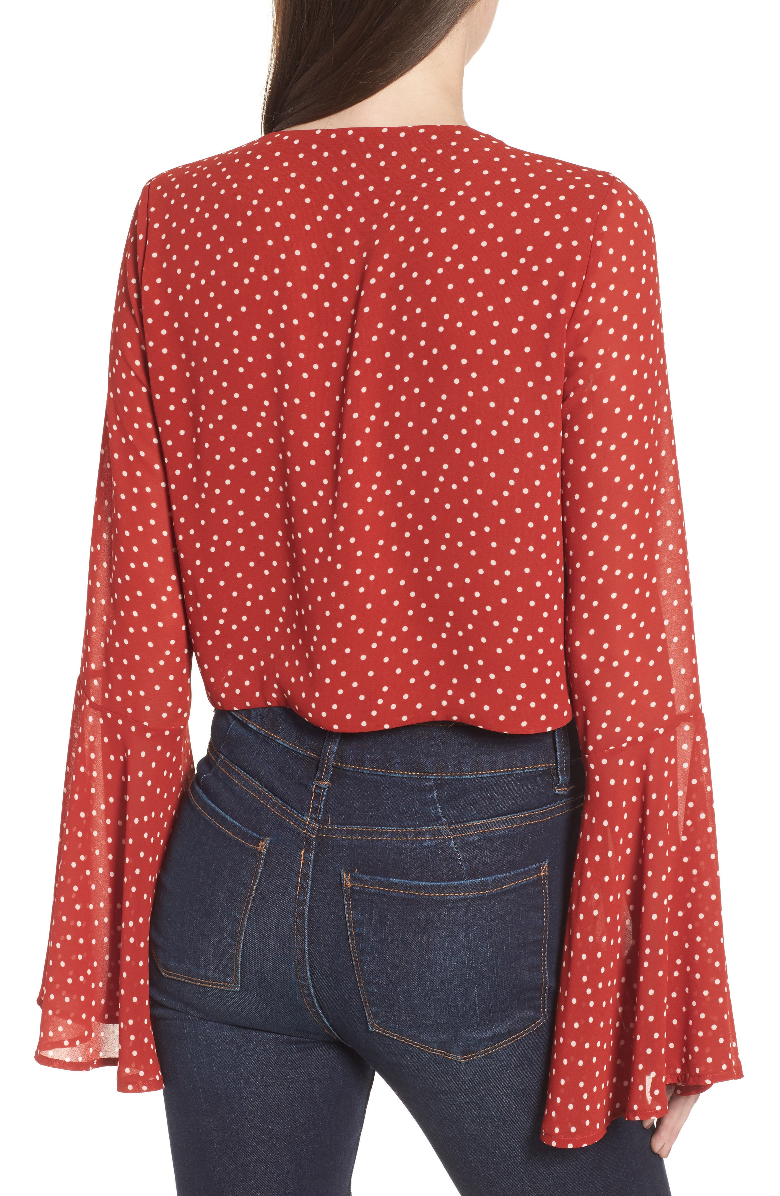 Tie Front Bell Sleeve Top,                             Alternate thumbnail 2, color,                             600