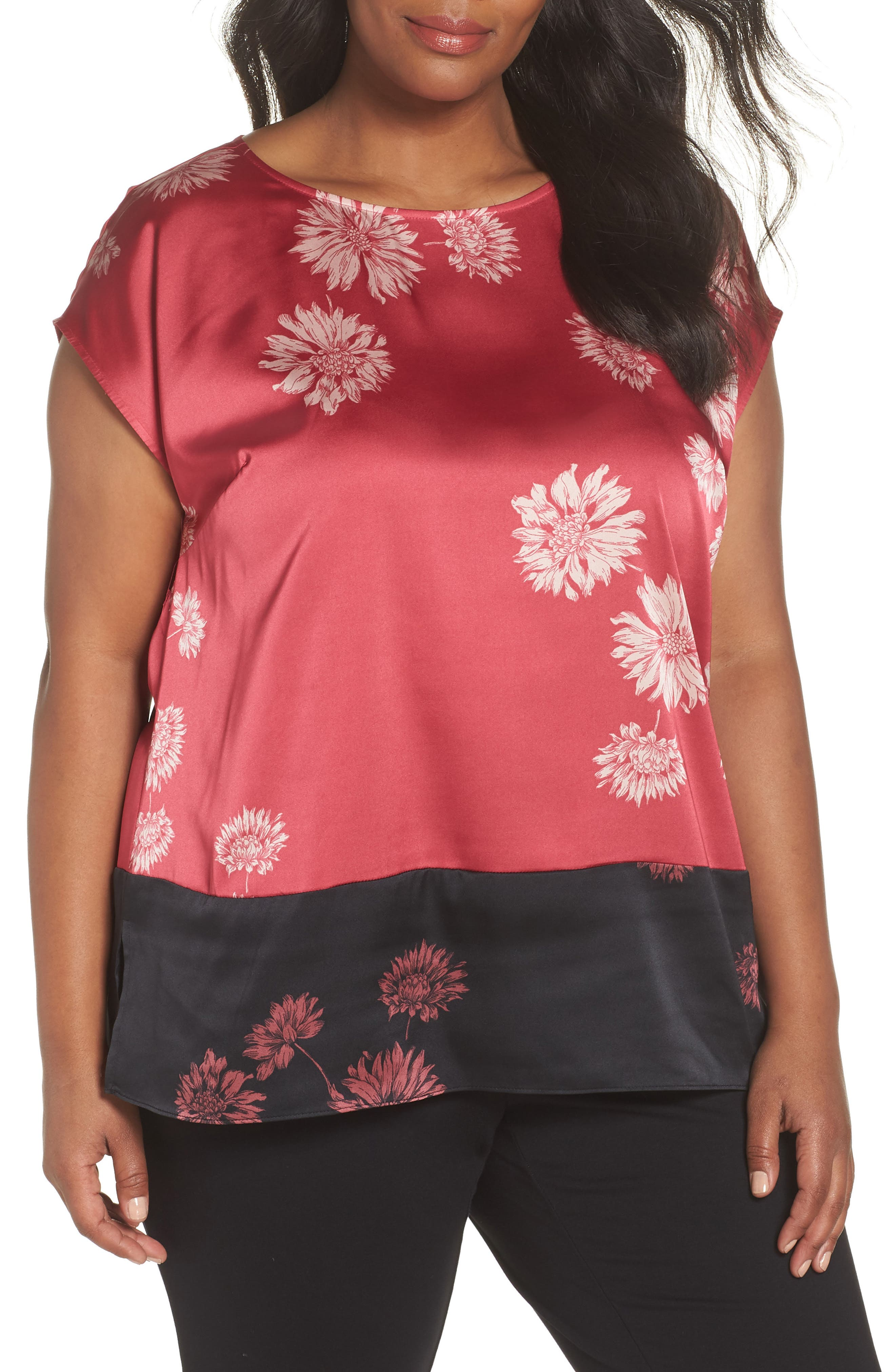 Chateau Floral Print Top,                         Main,                         color, PINK ROSE