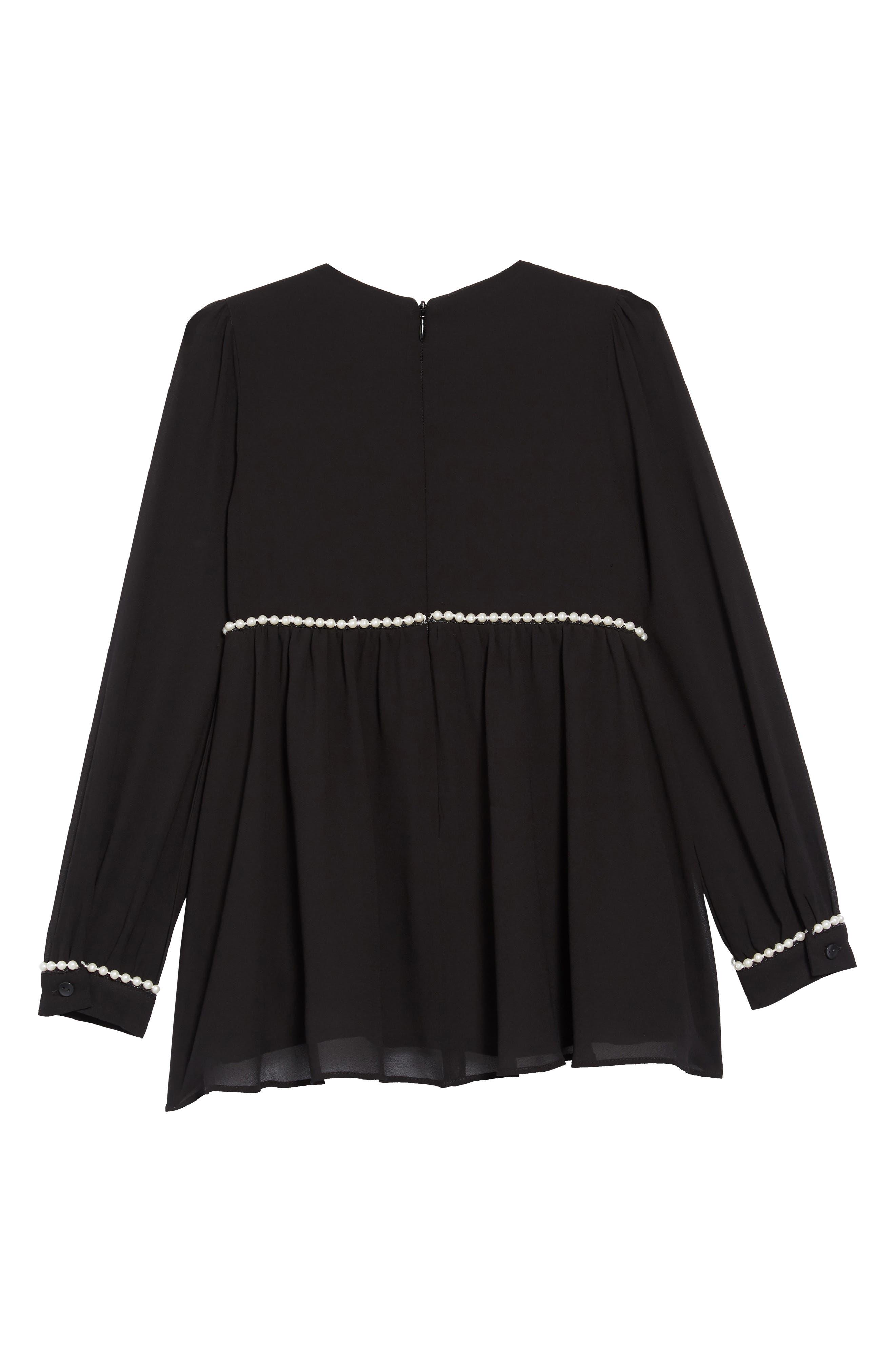 Valentina Imitation Pearl Beaded Dress,                             Alternate thumbnail 2, color,                             BLACK