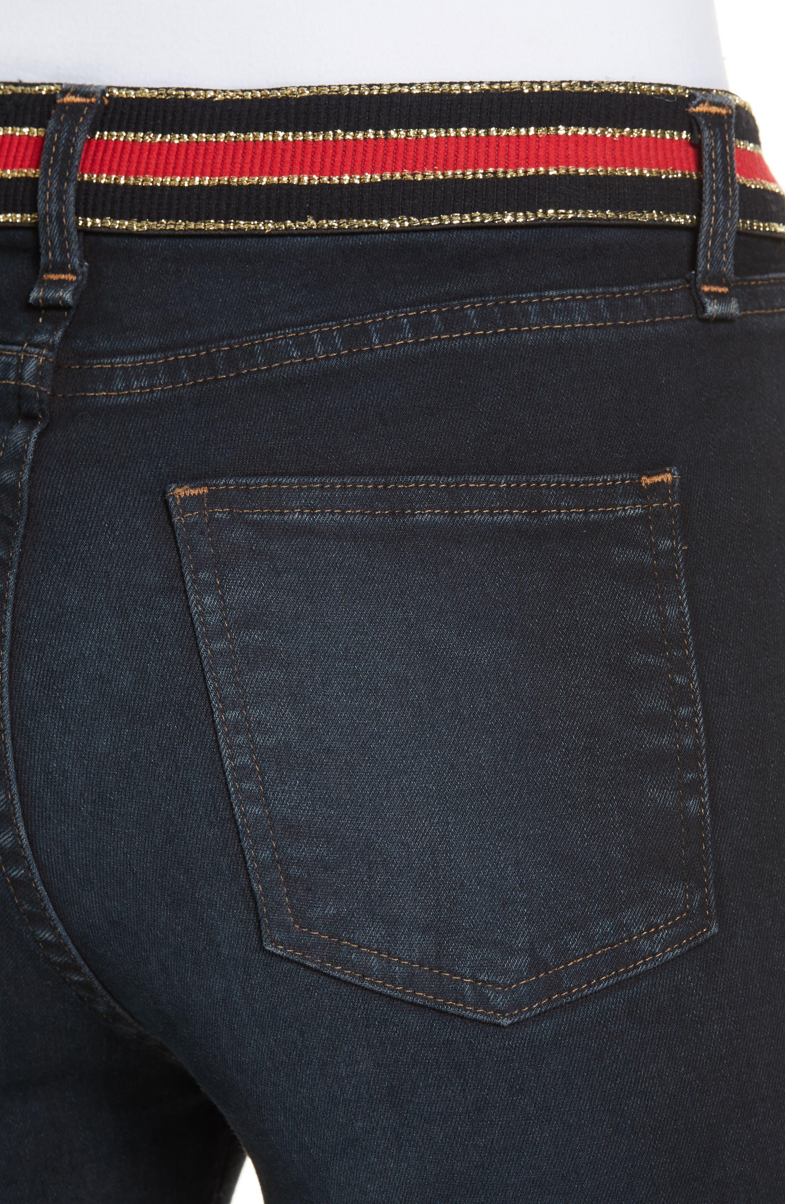 Carolyn Stripe Waist Crop Flare Jeans,                             Alternate thumbnail 4, color,                             DARK SLATE