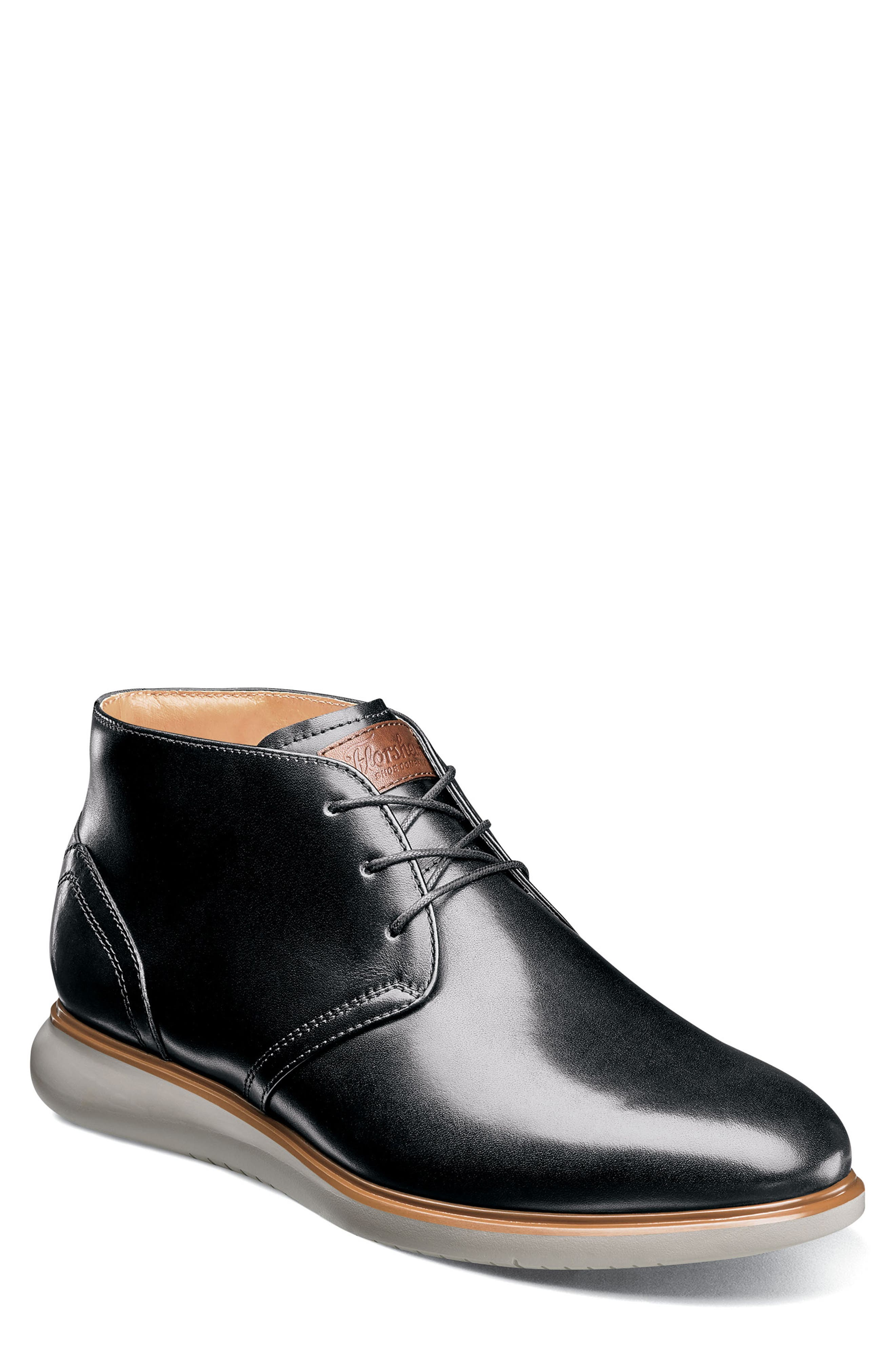 FLORSHEIM,                             Fuel Chukka Boot,                             Main thumbnail 1, color,                             BLACK LEATHER