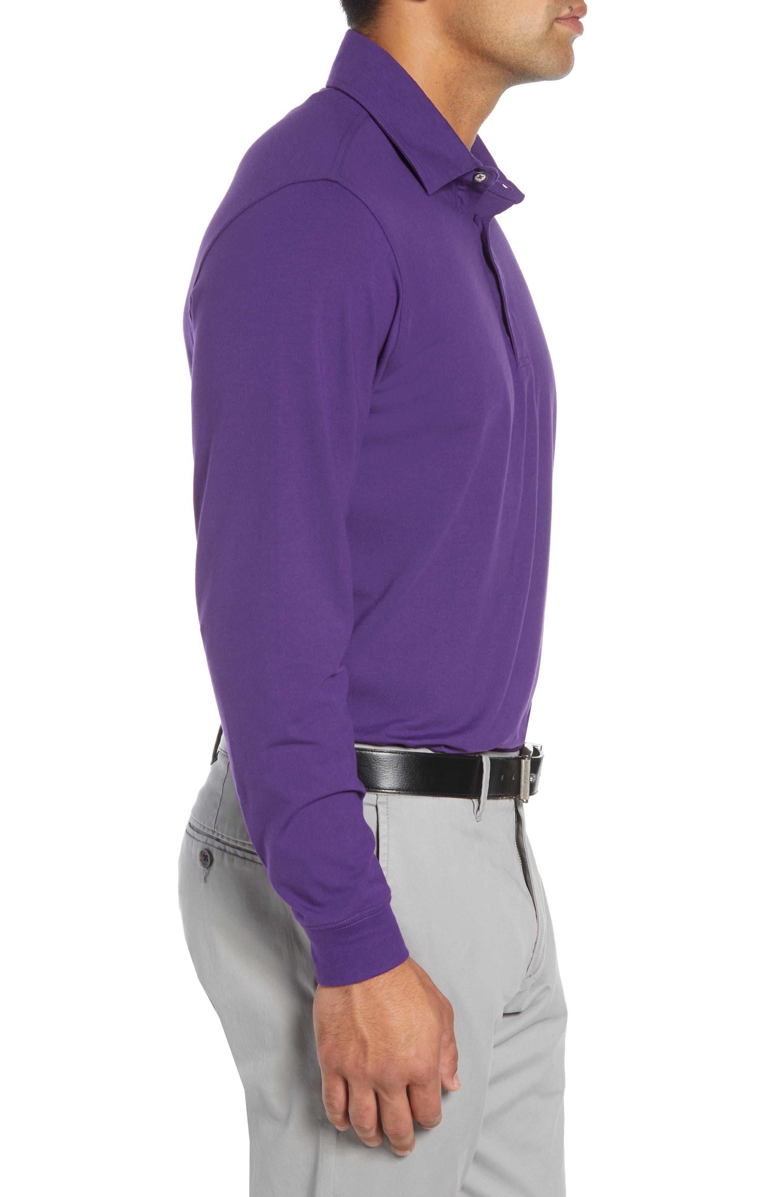 'Liquid Cotton' Long Sleeve Jersey Polo,                             Alternate thumbnail 3, color,                             PURPLE