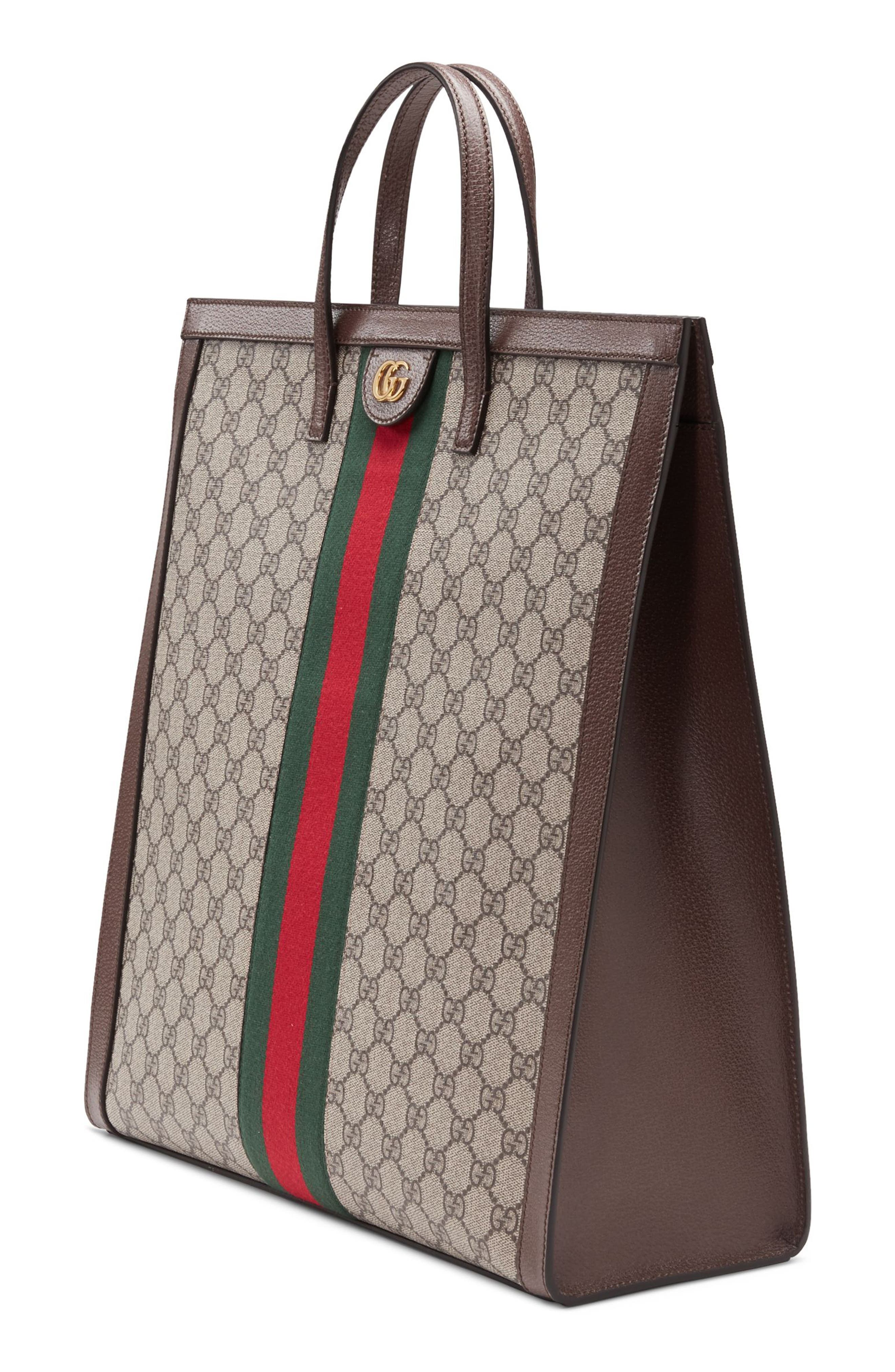Ophidia GG Supreme Canvas Tote,                             Alternate thumbnail 4, color,