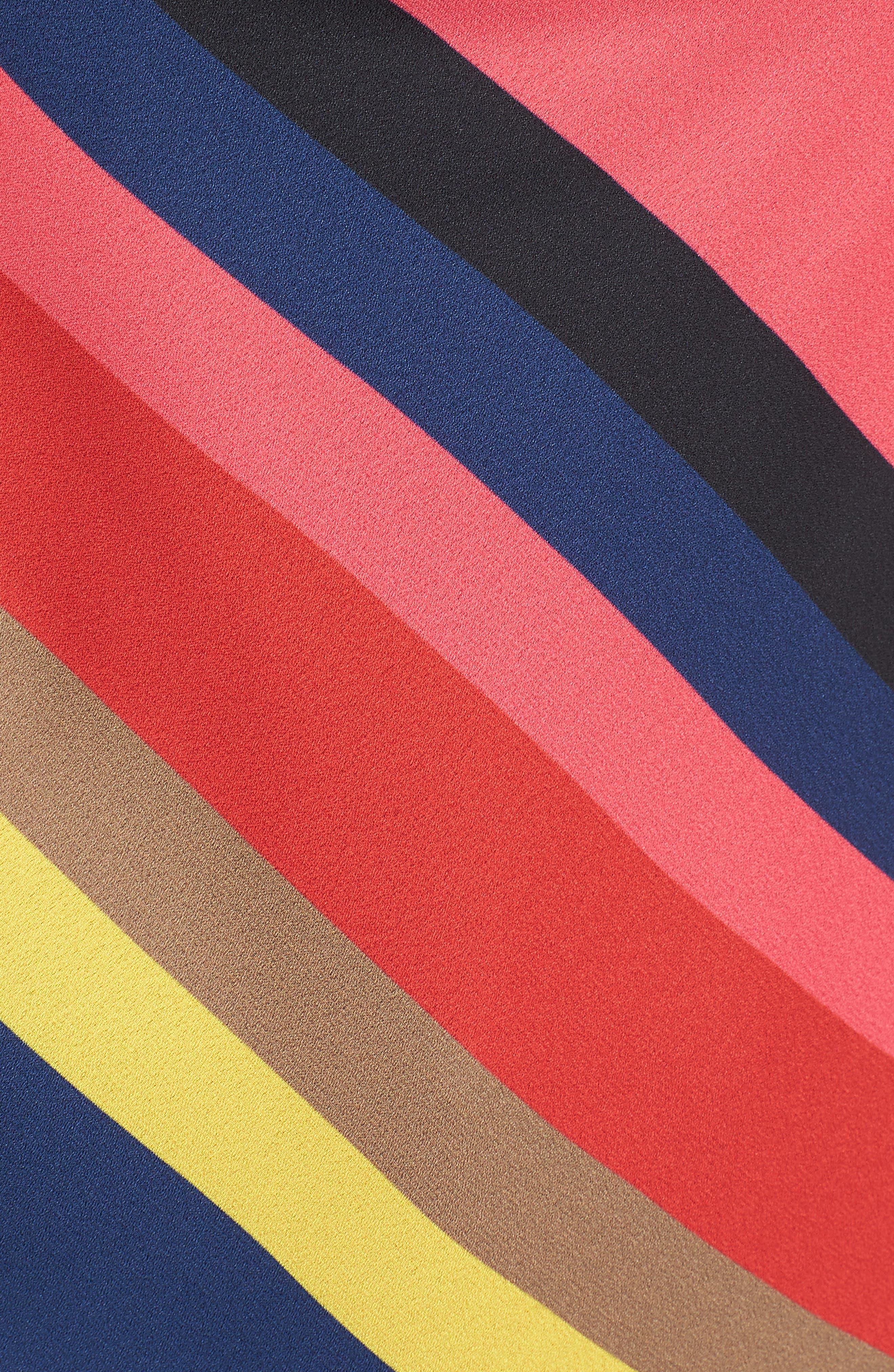 Stripe Cowl Neck Tank,                             Alternate thumbnail 5, color,                             BLACK/ RED/ FUCHSIA