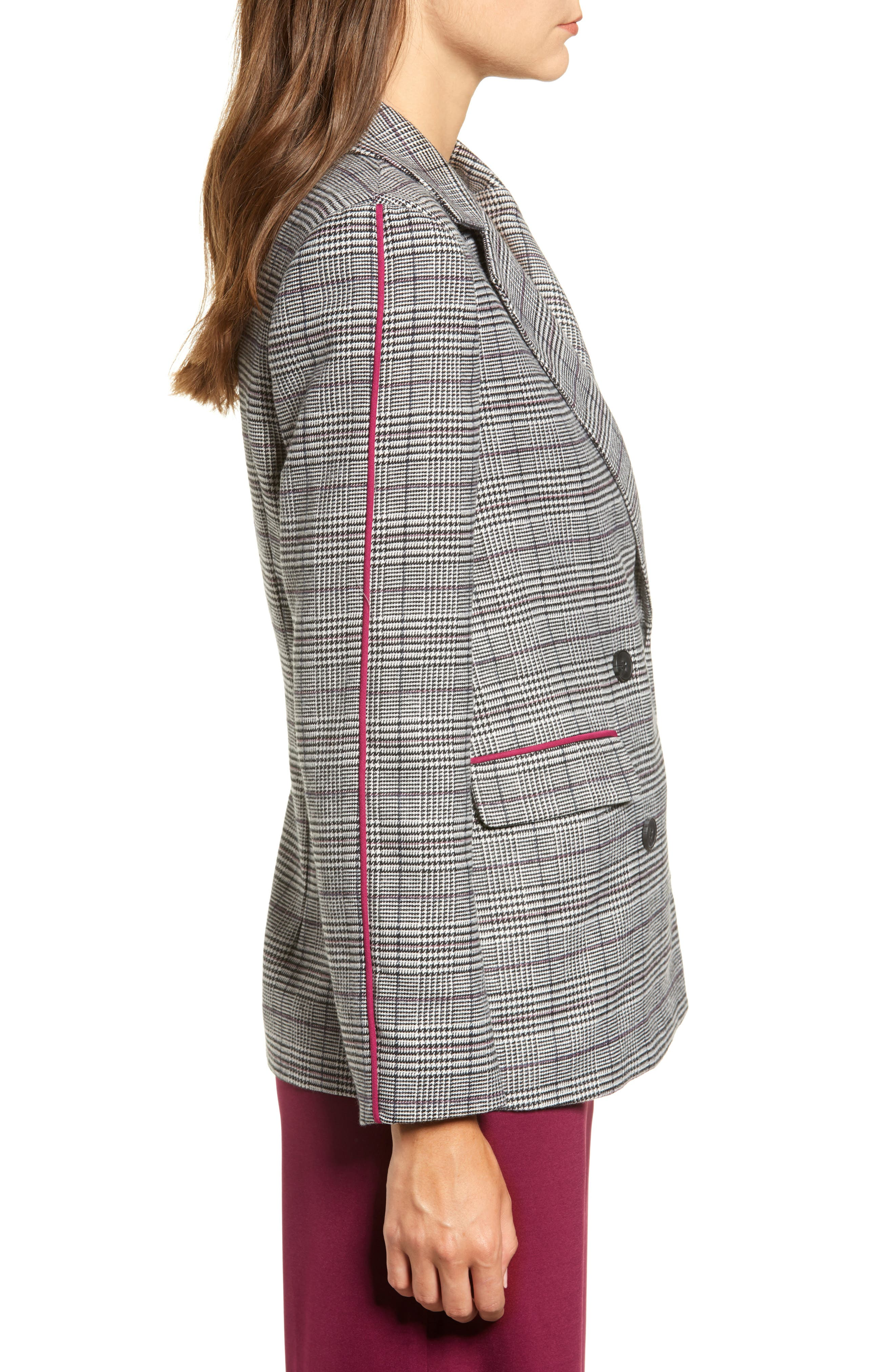 Chriselle Lim Bianca Piped Houndstooth Blazer,                             Alternate thumbnail 4, color,                             GREY PLAID