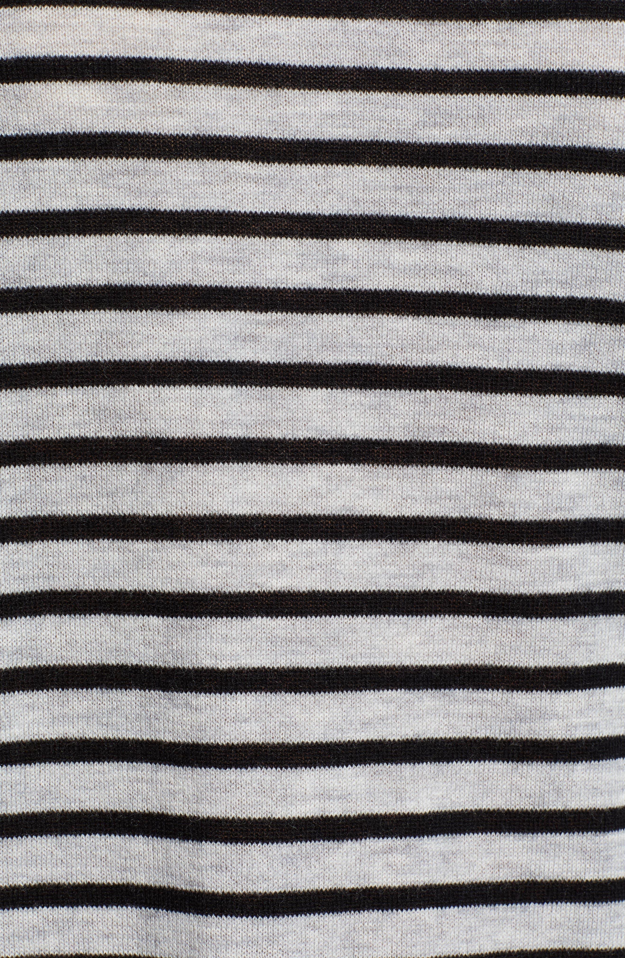 Stripe Zip Back Crewneck Sweater,                             Alternate thumbnail 5, color,                             059