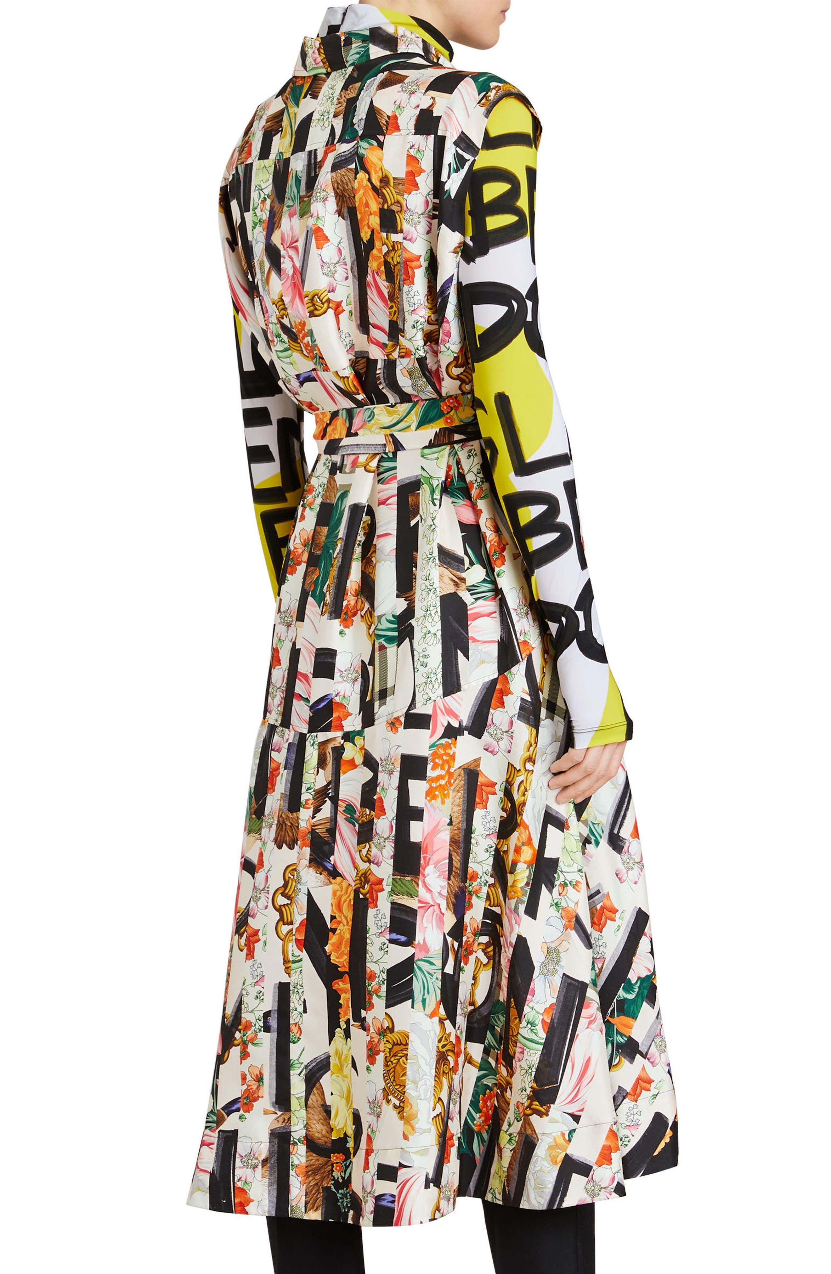 Sacha Silk Dress,                             Alternate thumbnail 3, color,                             MULTICOLOUR IP PTTN