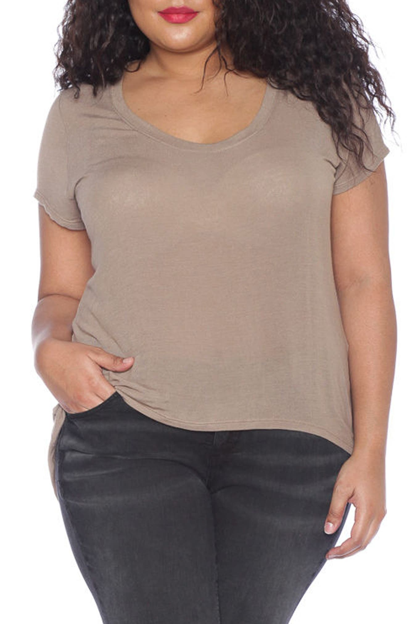 High/Low Scoop Neck Tee,                             Alternate thumbnail 2, color,                             210