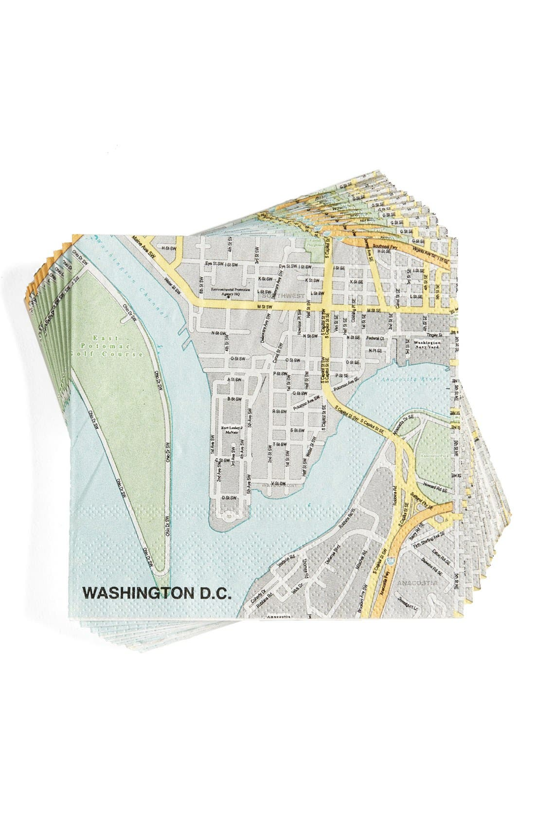 'Washington DC Mapkins' Cocktail Napkins,                             Main thumbnail 1, color,                             400