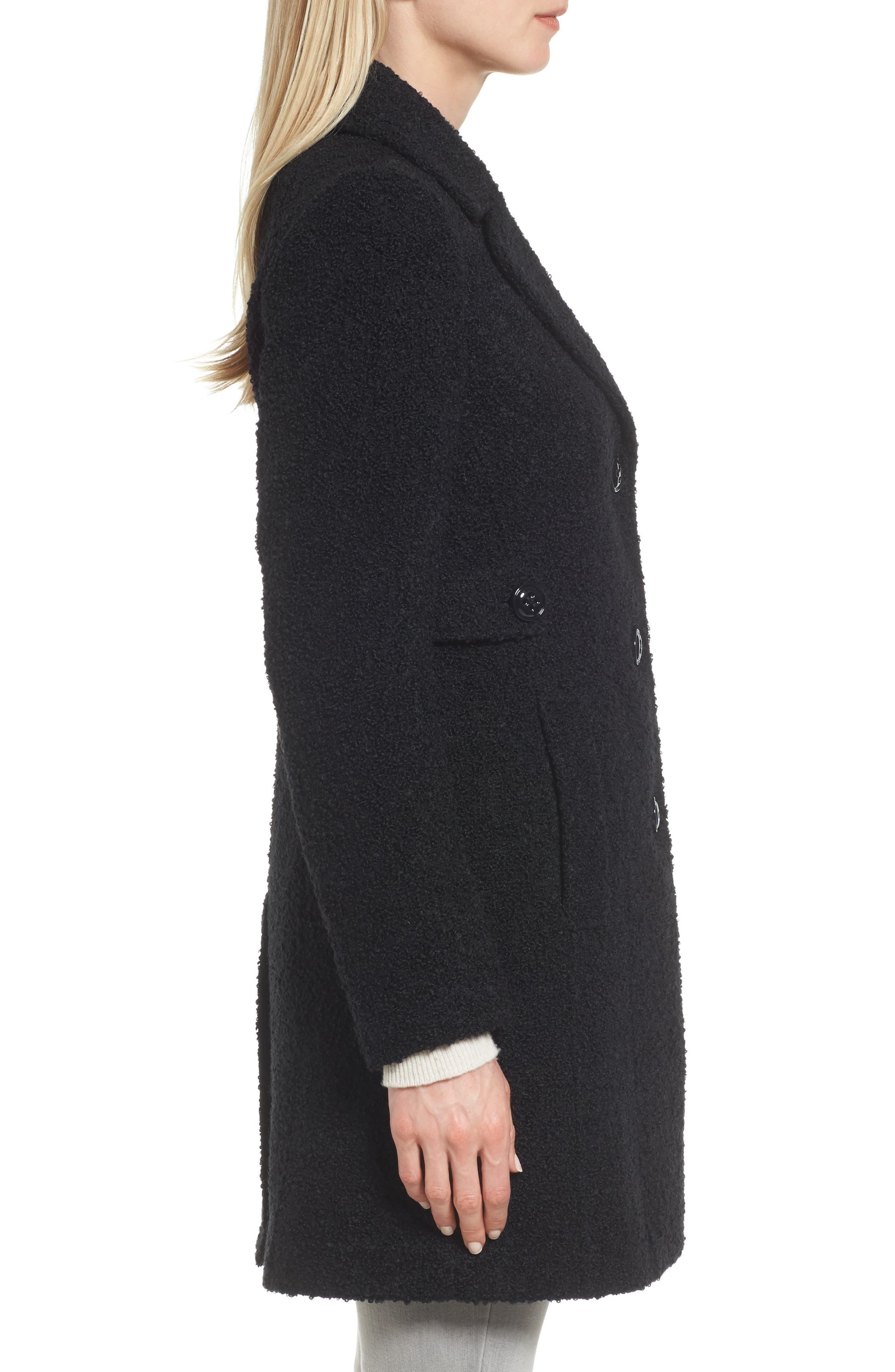 Bouclé Coat,                             Alternate thumbnail 3, color,                             BLACK