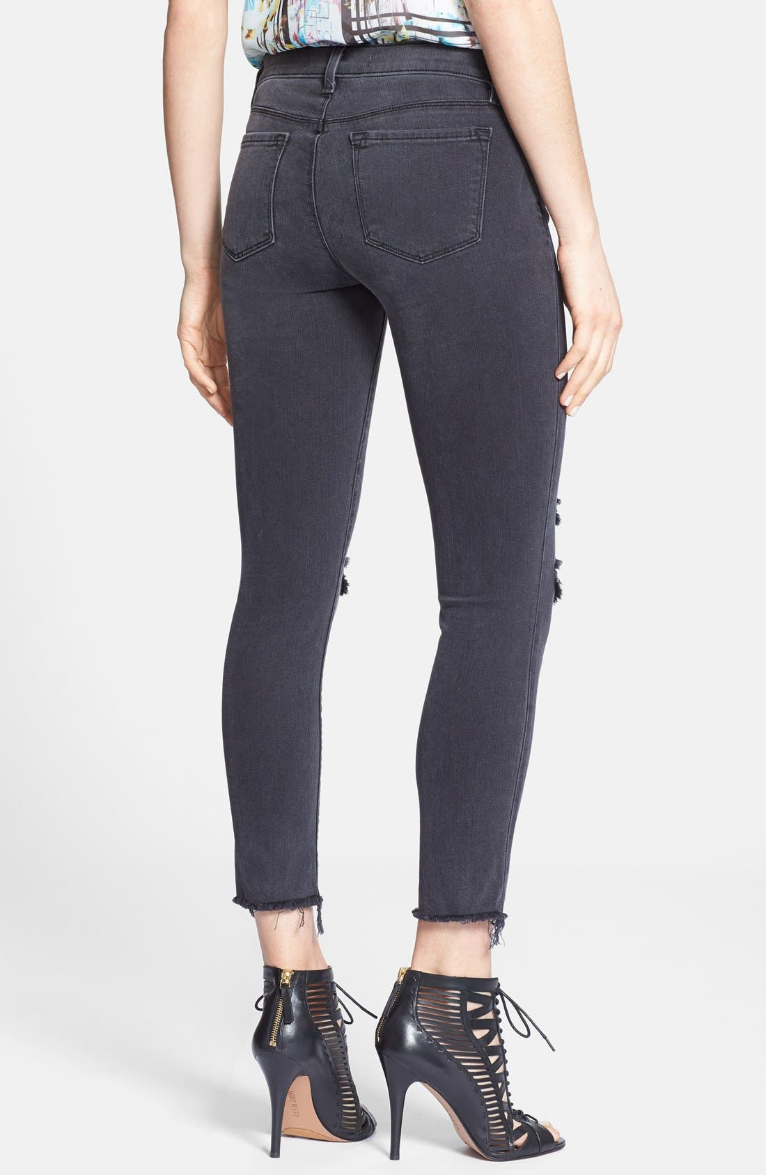 Distressed Crop Skinny Jeans,                             Alternate thumbnail 4, color,                             001