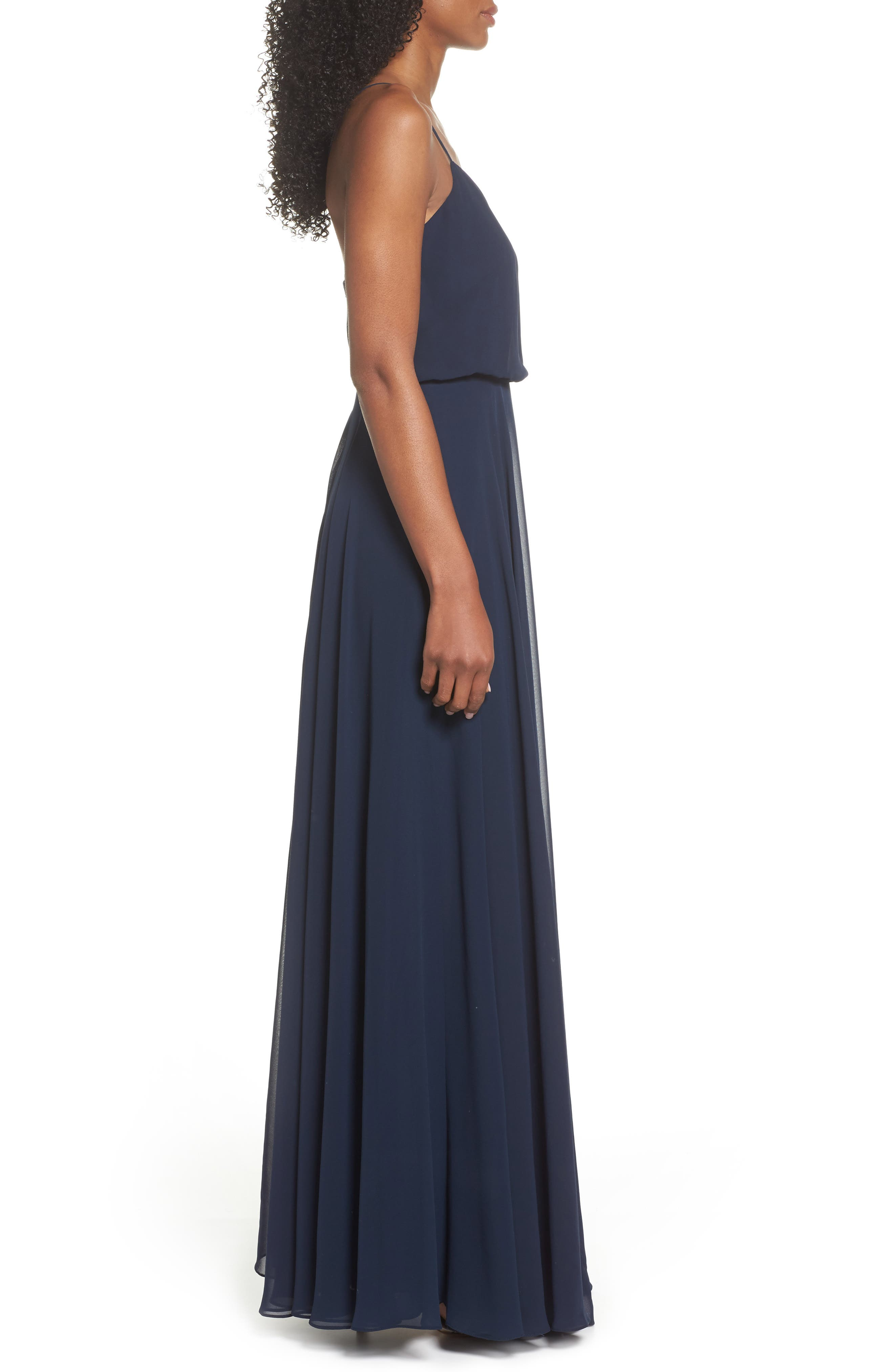 Inesse Chiffon V-Neck Spaghetti Strap Gown,                             Alternate thumbnail 3, color,                             NAVY